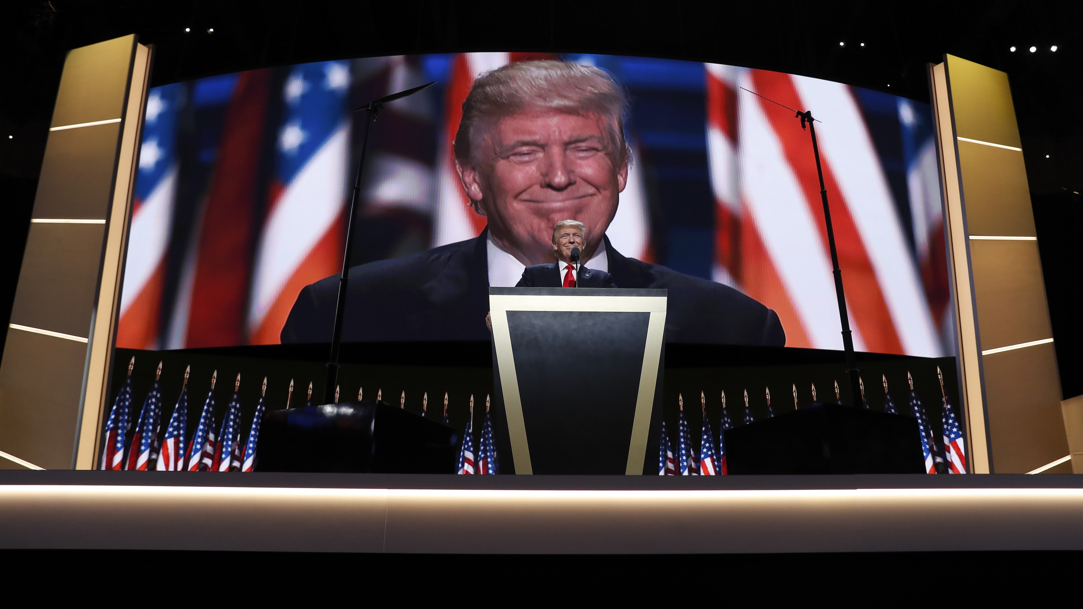 Donald Trump addresses the Republican National Convention in Cleveland.