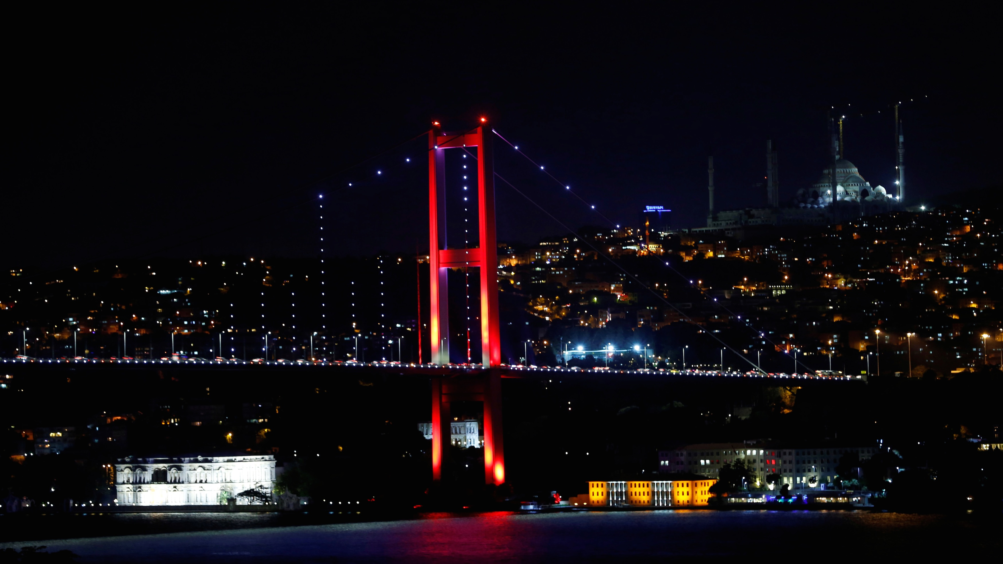 The Bosphorus bridge was closed by Turkish military for traffic coming from Asia to Europe.