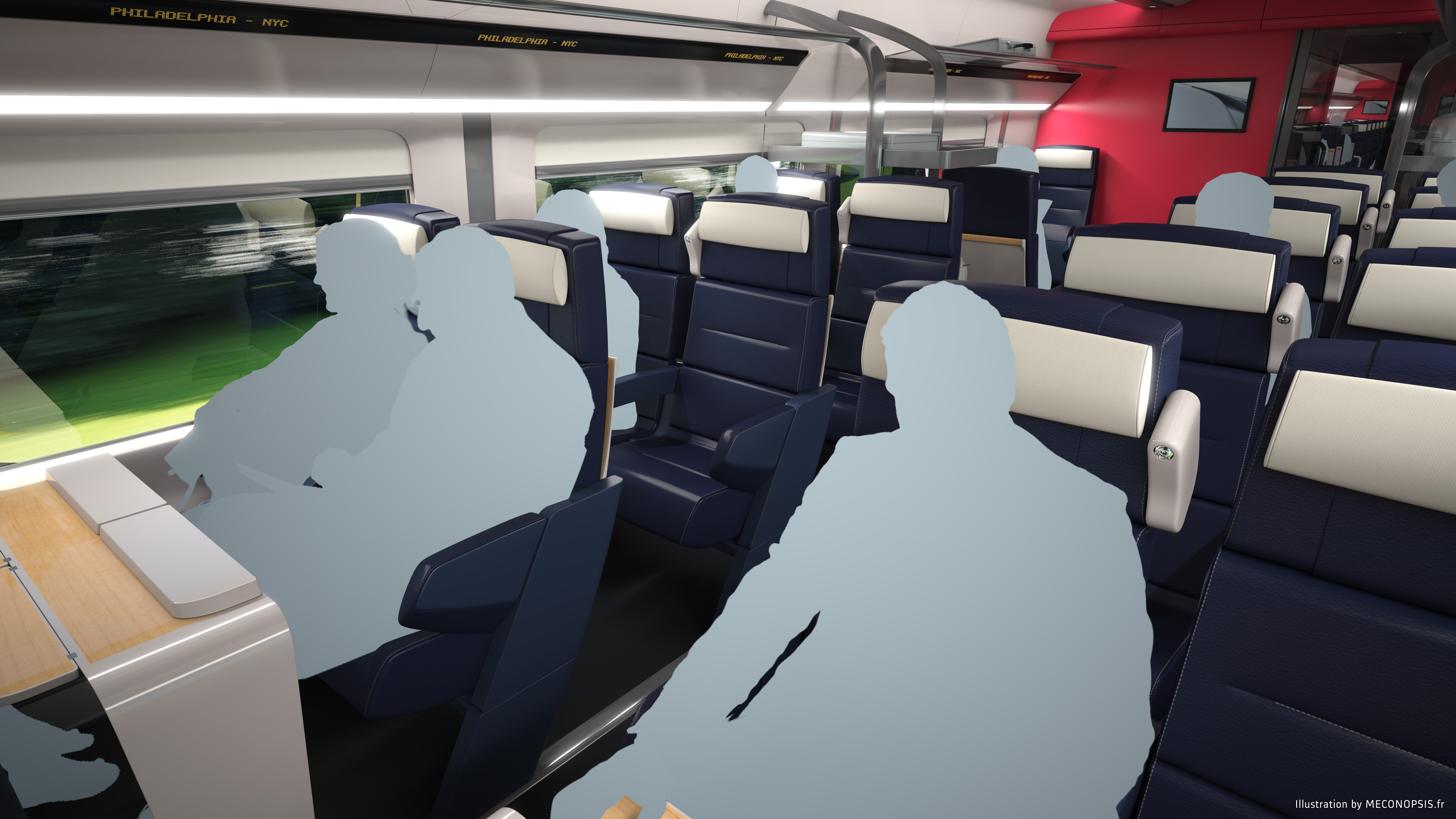 A view of the next generation Acela passenger car