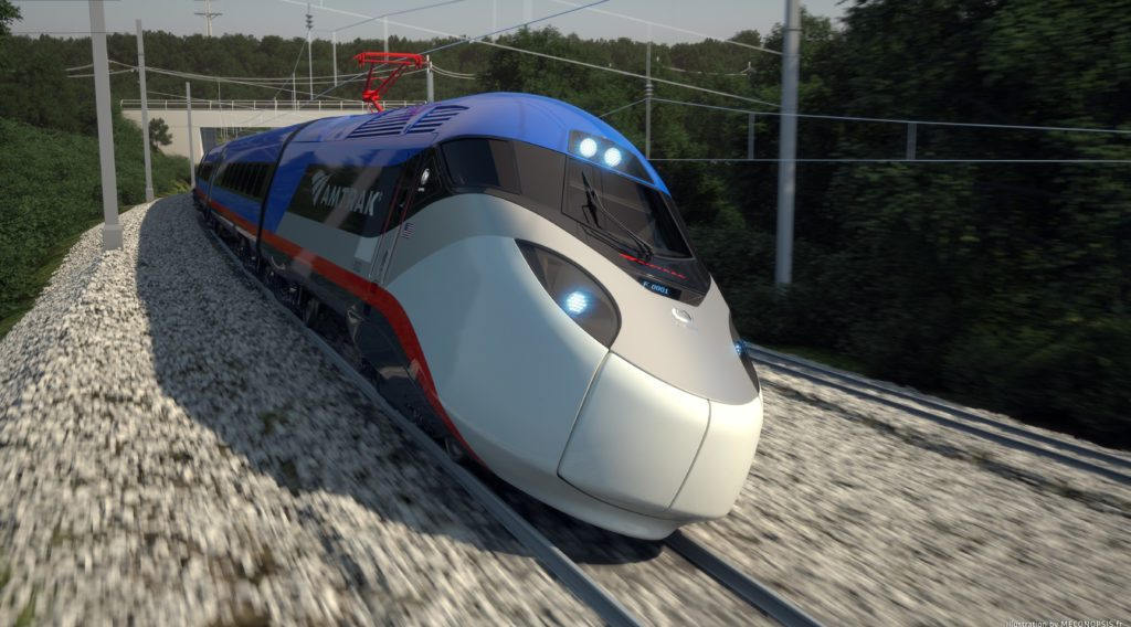 A rendering of the next generation Acela trains