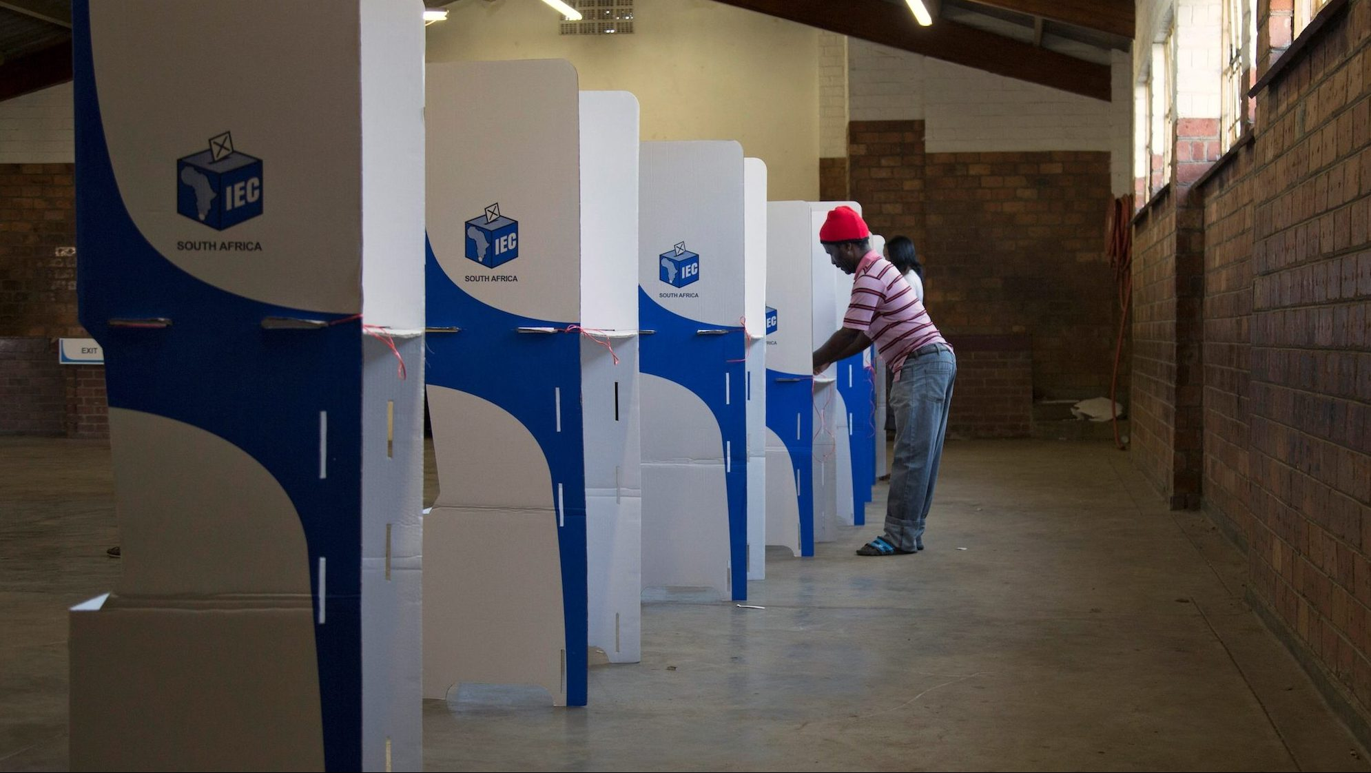 A man casts his ballot during South Africa's local government elections in KwaMashu, north of Durban