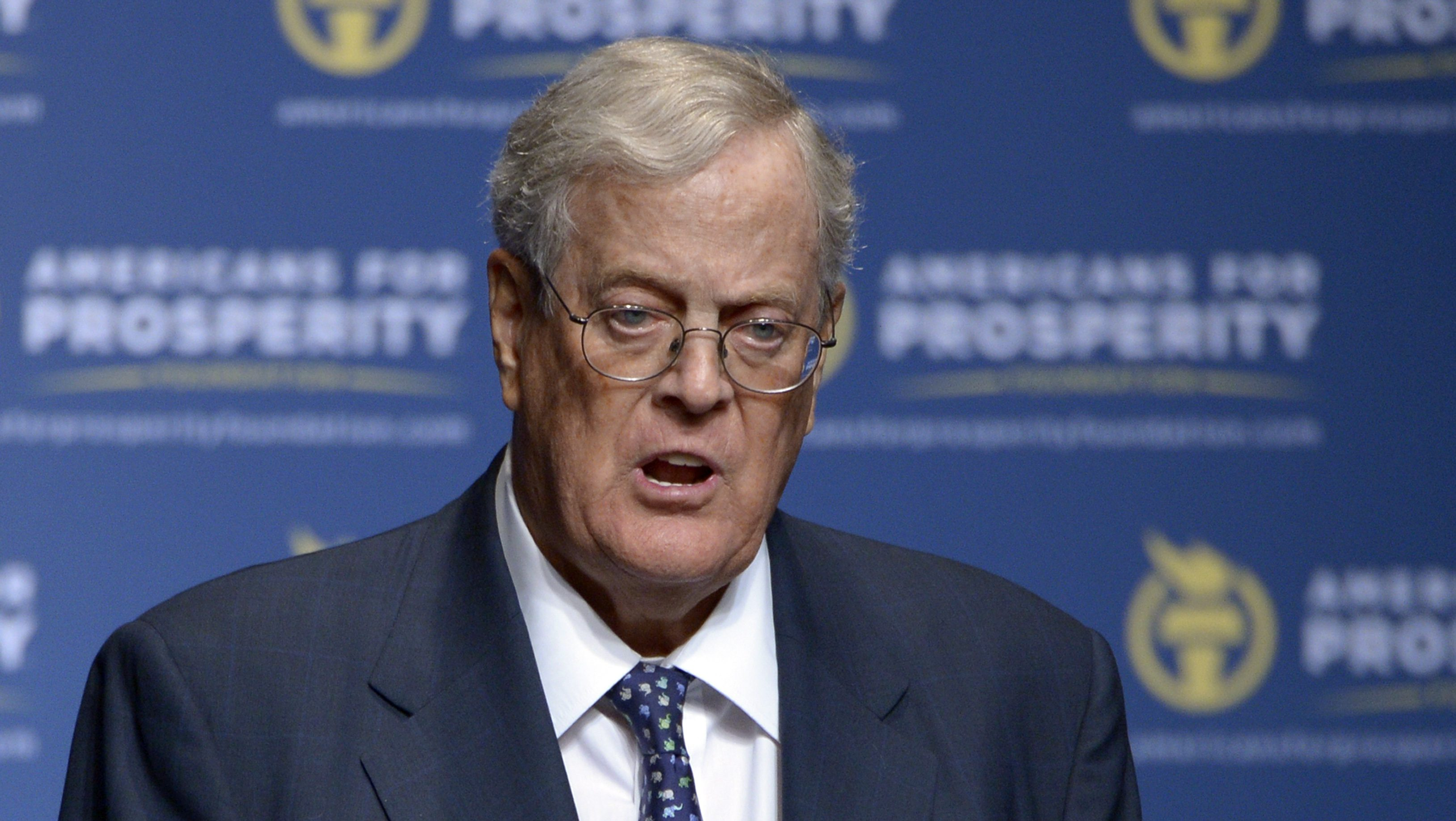 FILE - In this Aug. 30, 2013, file photo, Americans for Prosperity Foundation Chairman David Koch speaks in Orlando, Fla. The United Negro College Fund announced a $25 million grant from Koch Industries Inc. and the Charles Koch Foundation, a large donation from the conservative powerhouse Koch name that Democrats have sought to vilify heading into the 2014 mid-term elections. (AP Photo/Phelan M. Ebenhack, File)