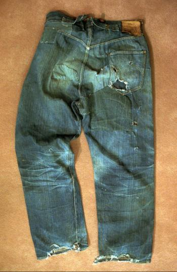 This is a Wednesday, March 12, 1997, photo of an approximately 100-year-old pair of Levi Strauss & Co. jeans recently purchased by the company for $25,000. The jeans, found last November in an abandoned mine, are one of the two oldest-known pairs of Levi's in existence. (AP Photo/Sam Morris)