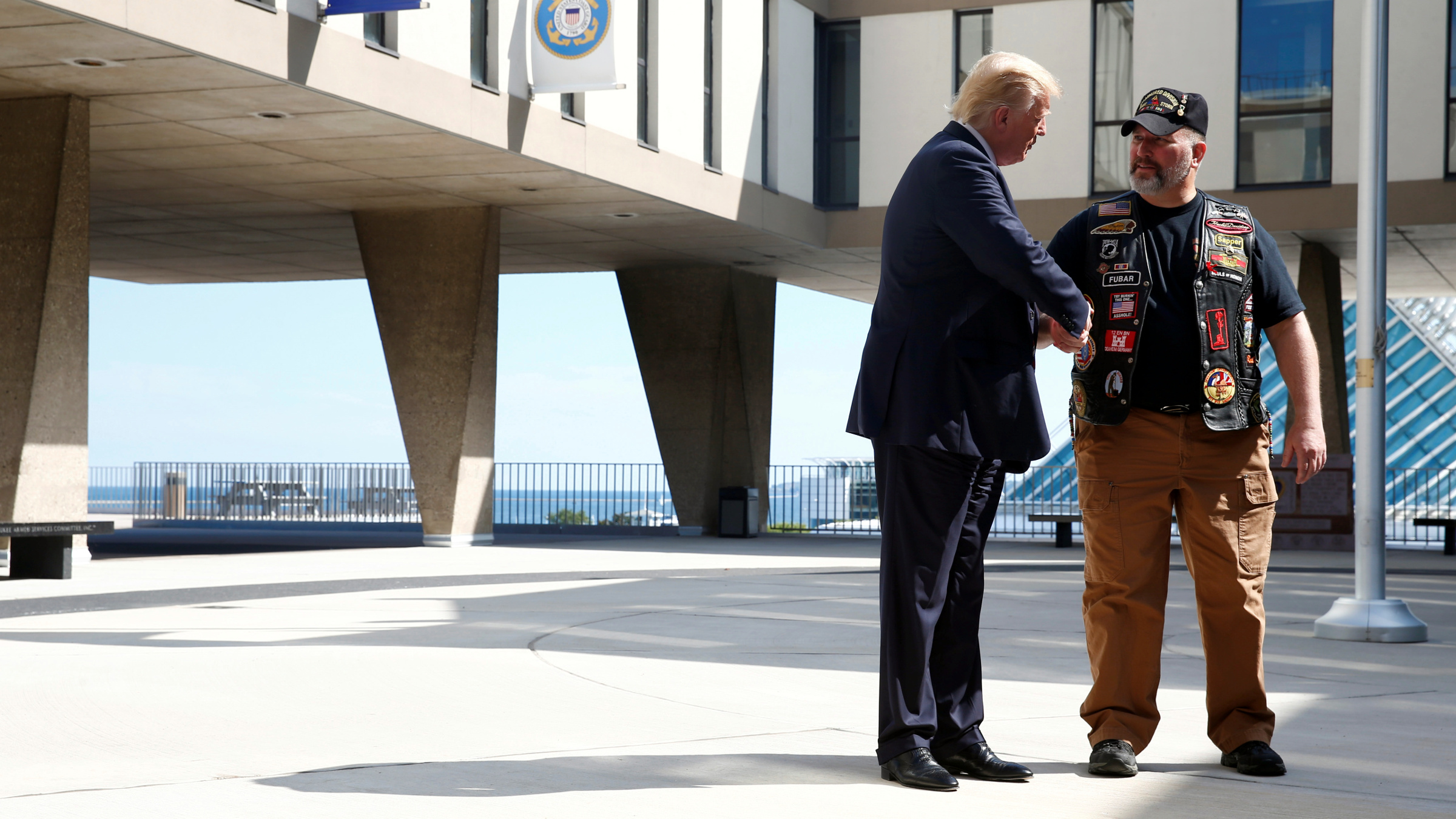 Republican U.S. presidential nominee Donald Trump visits the Milwaukee County War Memorial Center in Milwaukee, Wisconsin August 16, 2016.