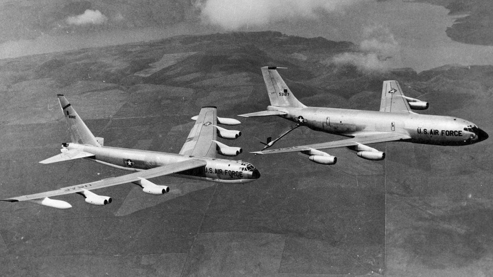 B-52 bomber being refueled by KC-135 tanker in 1965