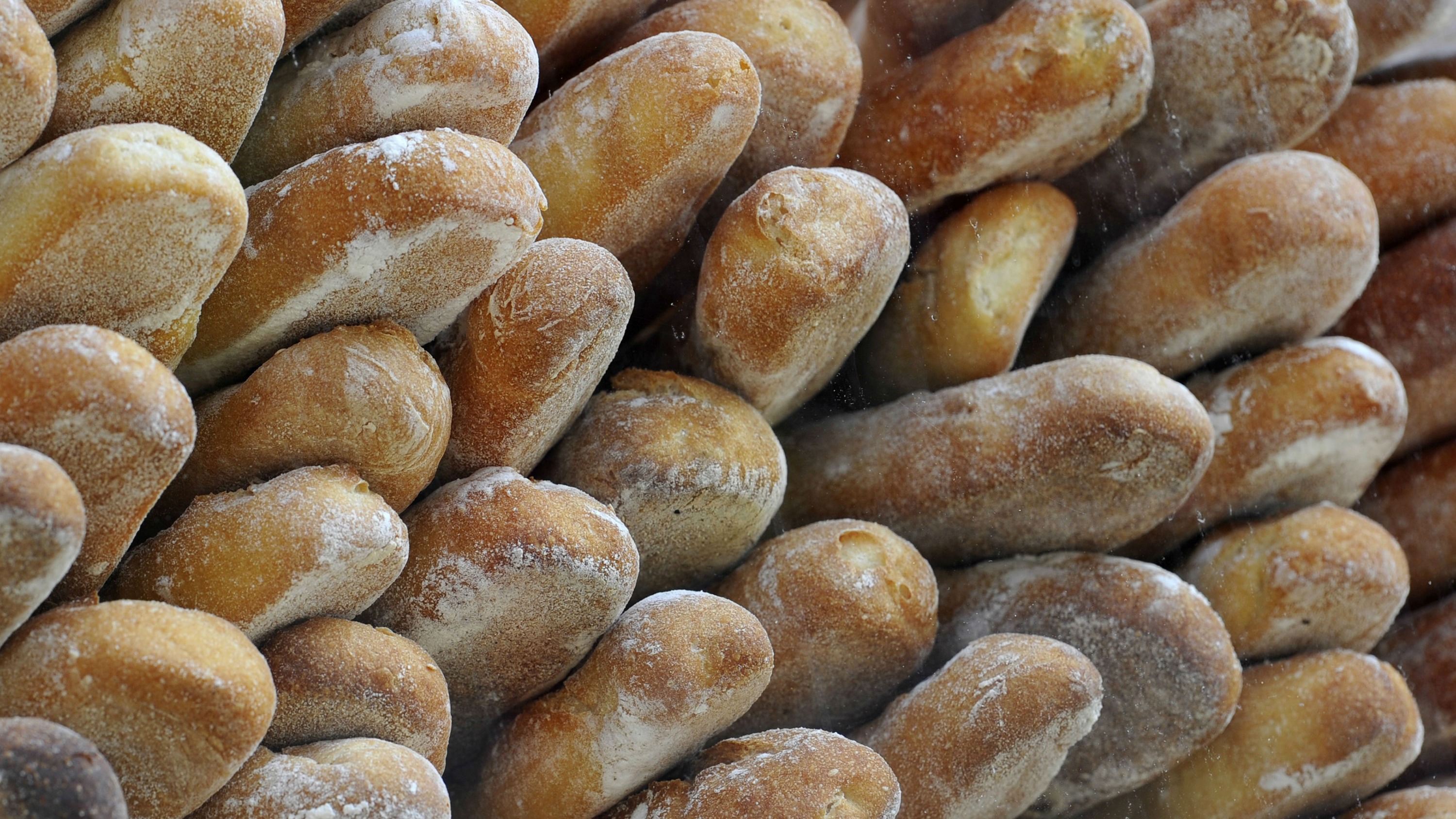 Bread is displayed at a bakery
