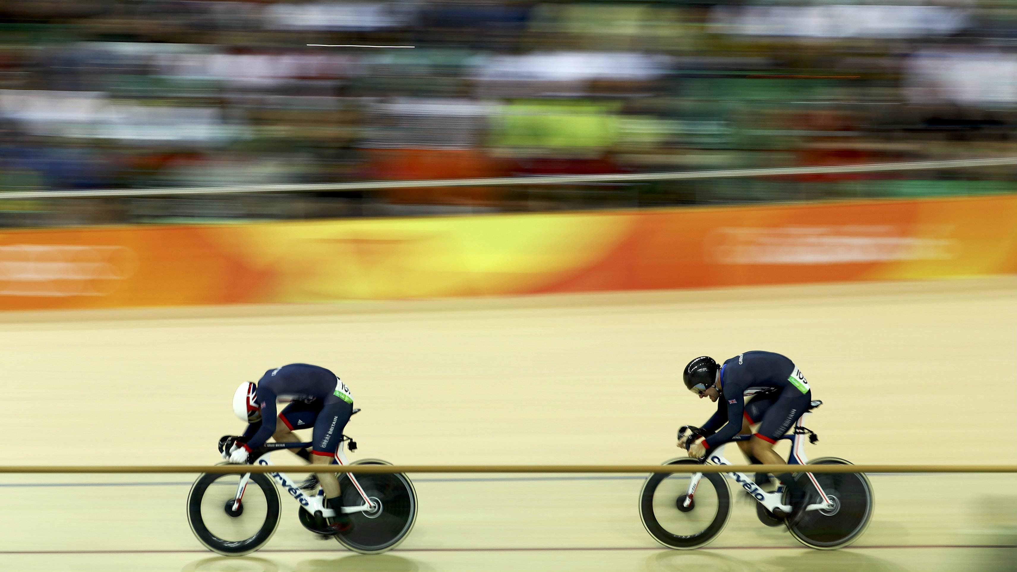 Callum Skinner and Jason Kenny compete in the Men's Sprint Final Gold Race at the 2016 Rio Olympic Games.
