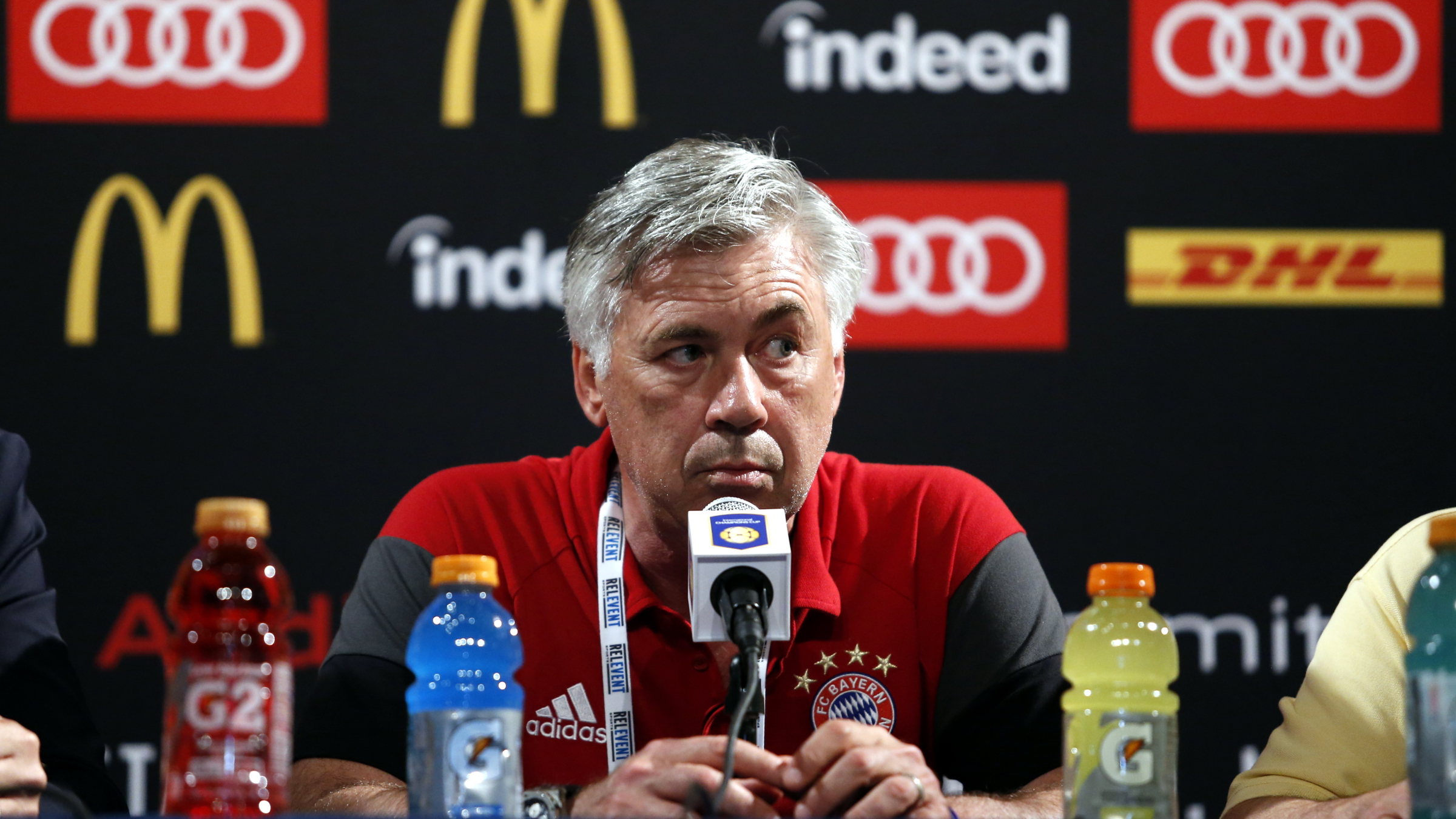 IMAGE DISTRIBUTED FOR INTERNATIONAL CHAMPIONS CUP - FC Bayern Munich coach Carlo Ancelotti speaks during a post game press conference after the match with Real Madrid FC in the International Champions Cup at the MetLife Stadium on Wednesday, Aug. 3, 2016, in East Rutherford, N.J. ()
