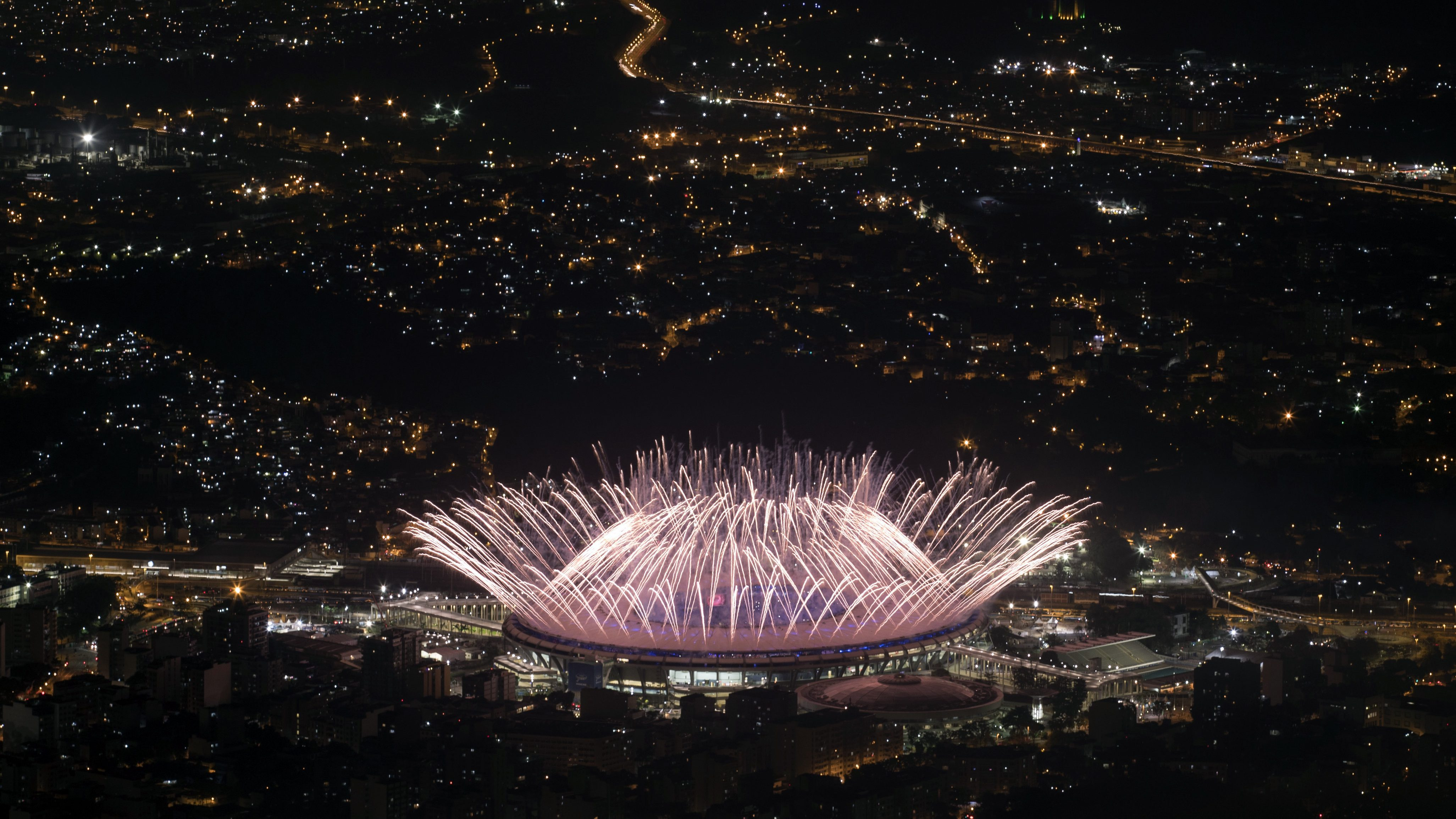 Fireworks explode over Maracana Stadium during the opening ceremony at the 2016 Summer Olympics in Rio de Janeiro, Brazil.