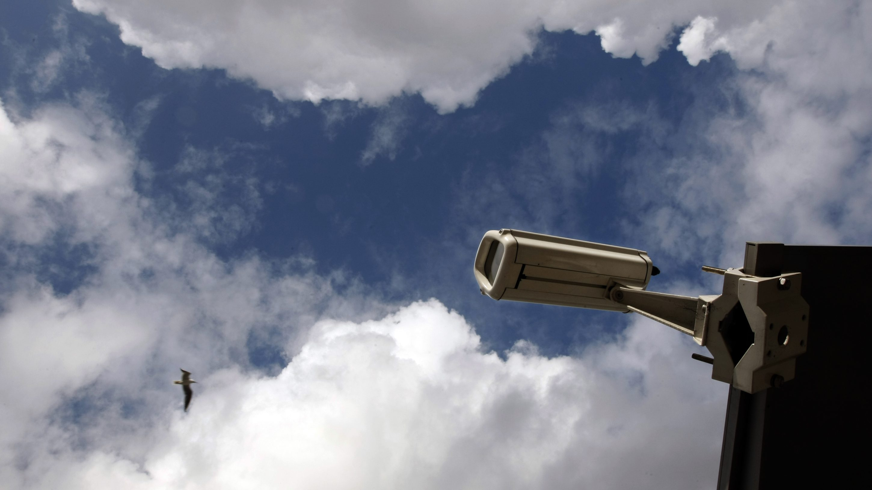 A camera which is used to monitor public areas is seen in Nice