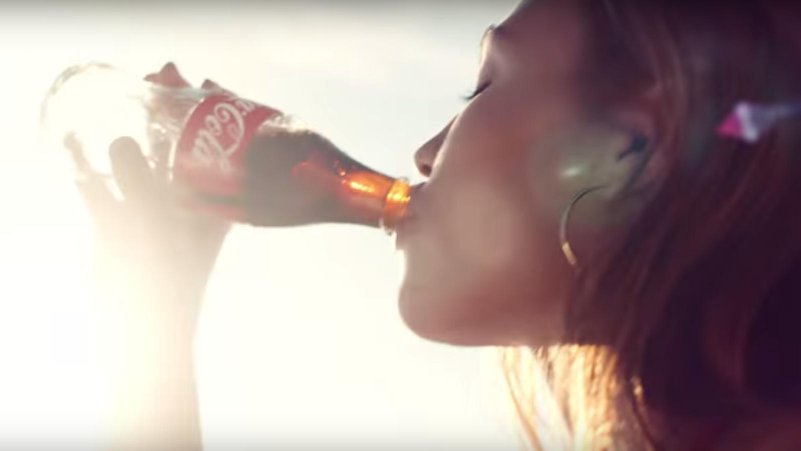 "Screenshot of Coca-Cola's ""Feelings"" ad."