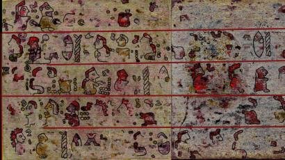 Recently revealed images of Codex Selden, an ancient Mexican document