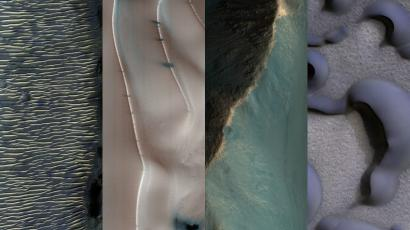 A collage of images of the landscape of Mars