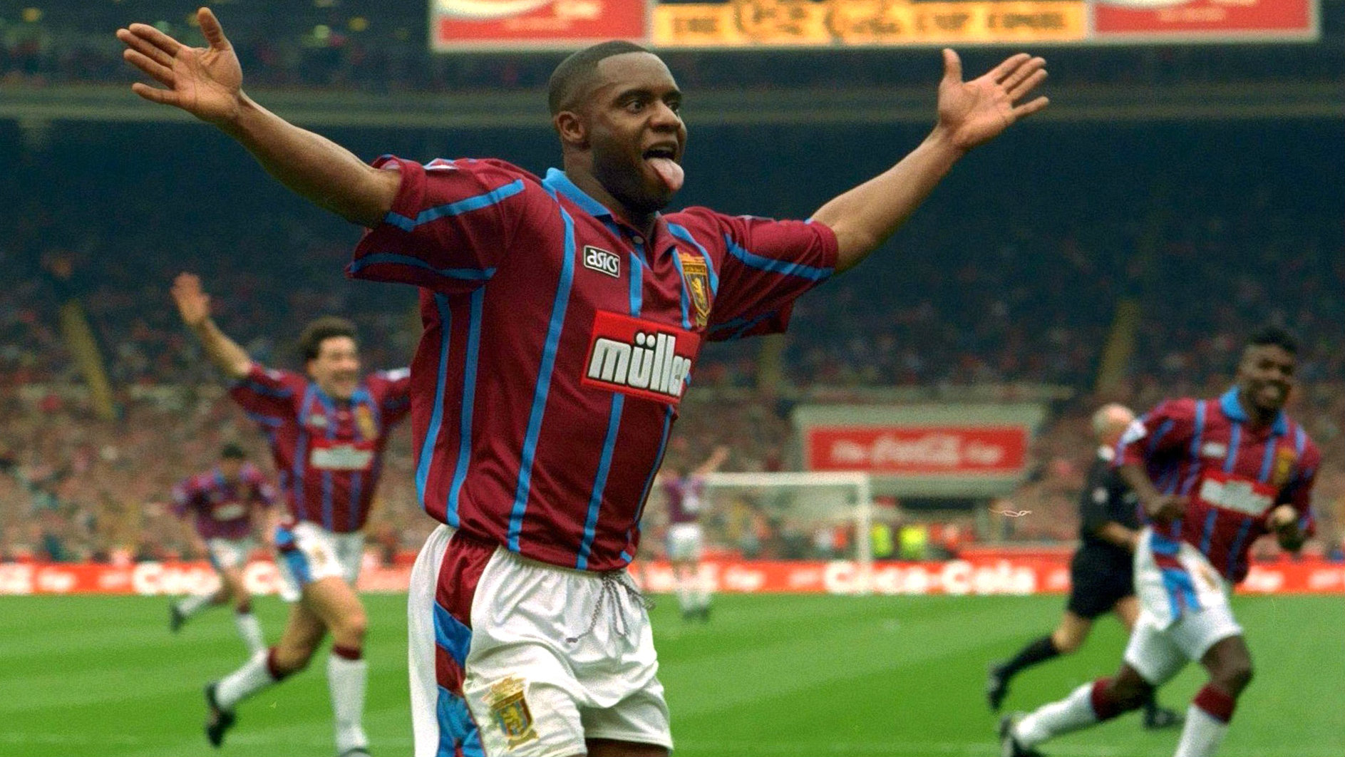 Dalian Atkinson (1968-2016) scoring in the FA Cup final for Aston Villa.