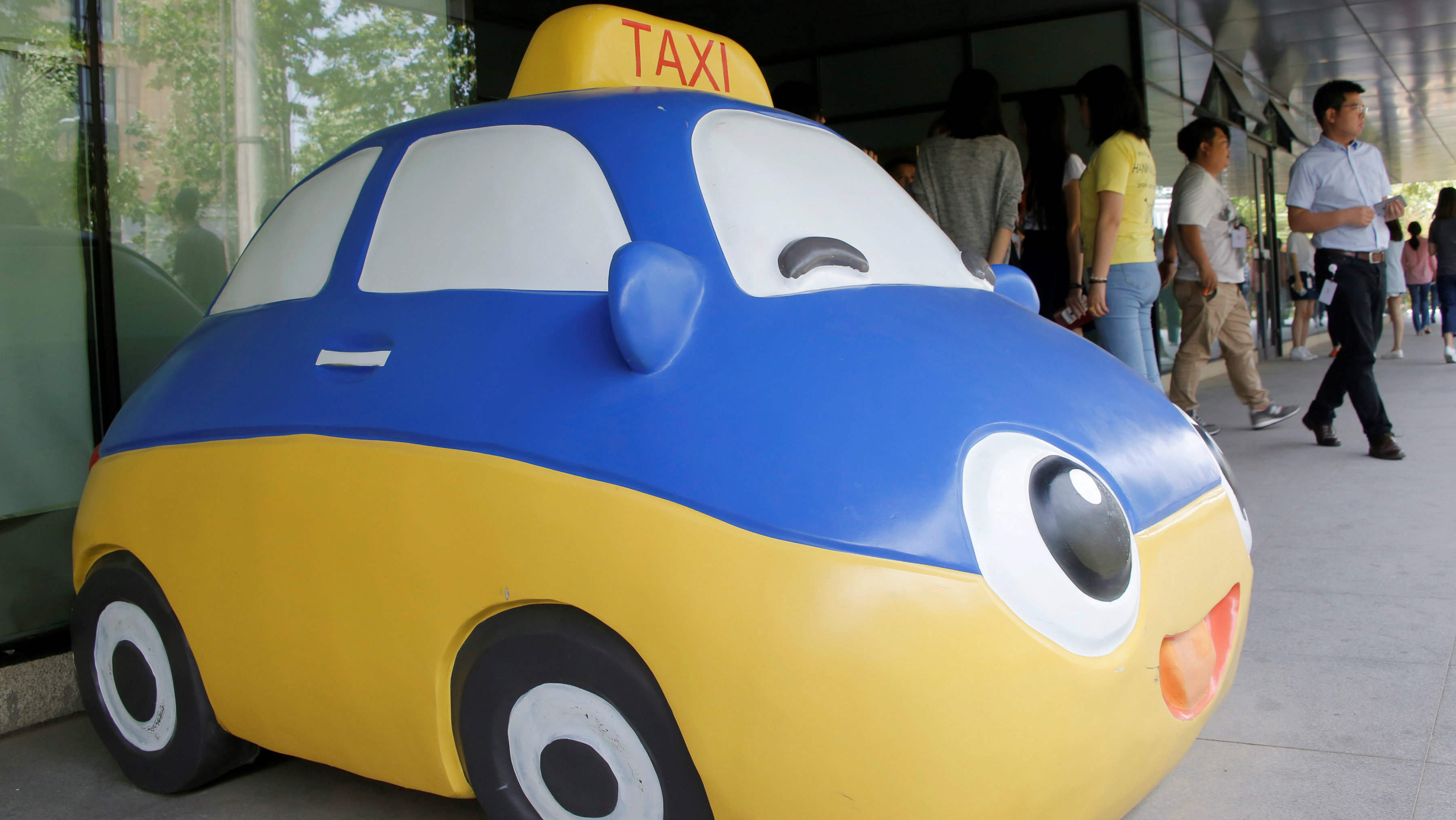Didi Chuxing's former mascot outside the company's headquarters in Beijing.
