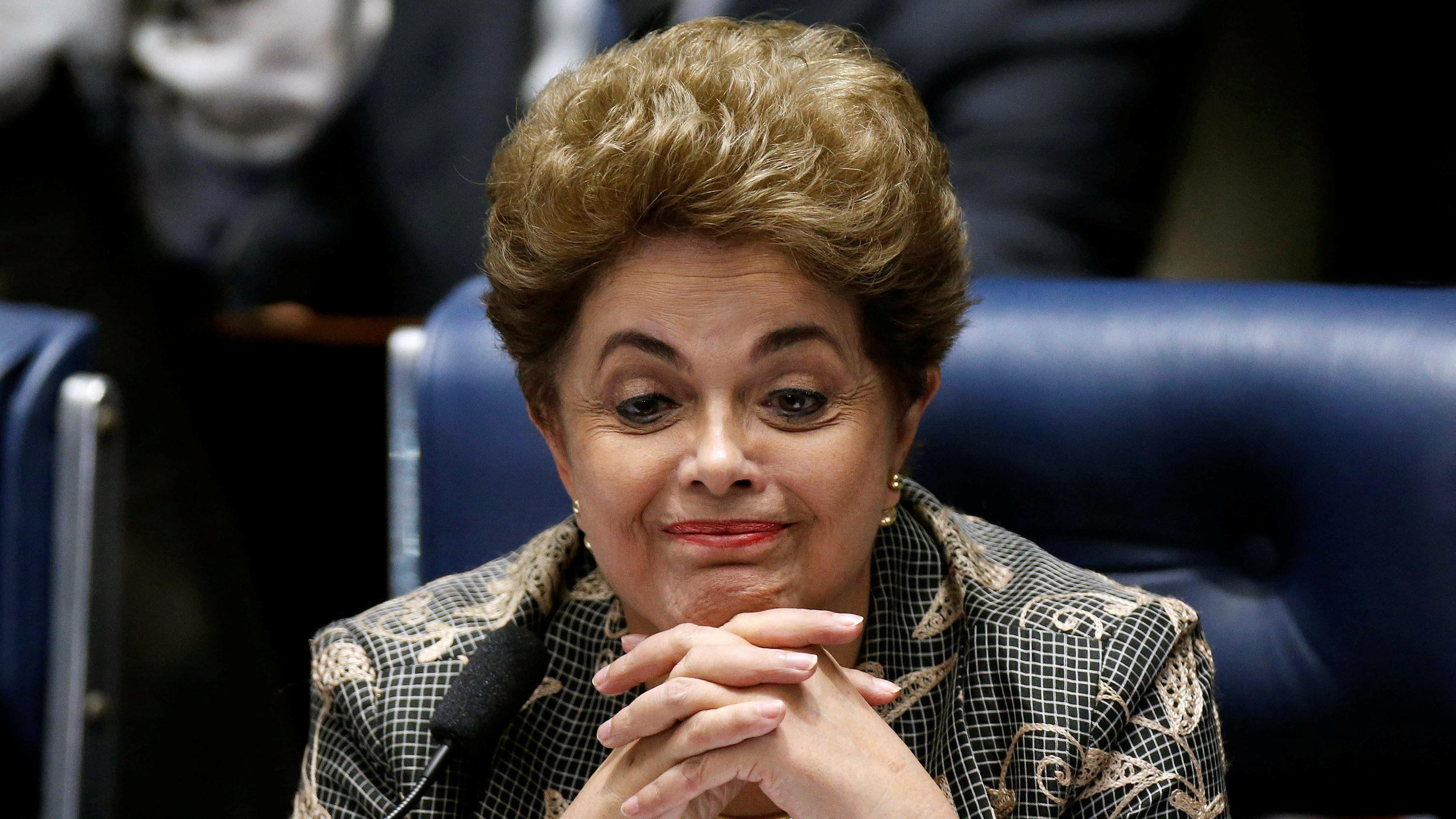 Brazil's suspended President Dilma Rousseff attends the final session of debate and voting on Rousseff's impeachment trial in Brasilia, Brazil, August 29, 2016. REUTERS/Ueslei Marcelino - RTX2NIJF