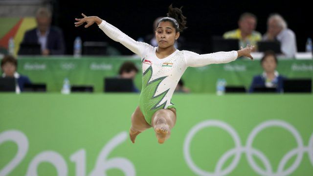 Dipa Karmakar (IND) of India competes on the floor exercise during the women's qualifications.