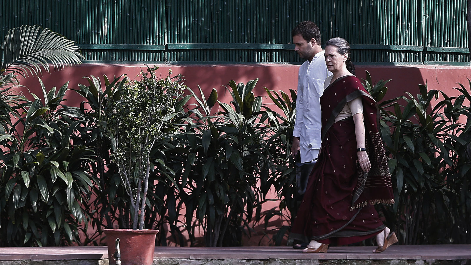 Congress party chief Sonia Gandhi and her son and party vice-president Rahul Gandhi in New Delhi.