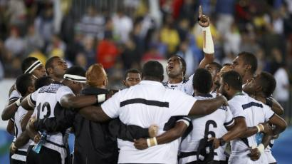 Fiji rugby sevens team win gold at the Rio Olympics 2016.