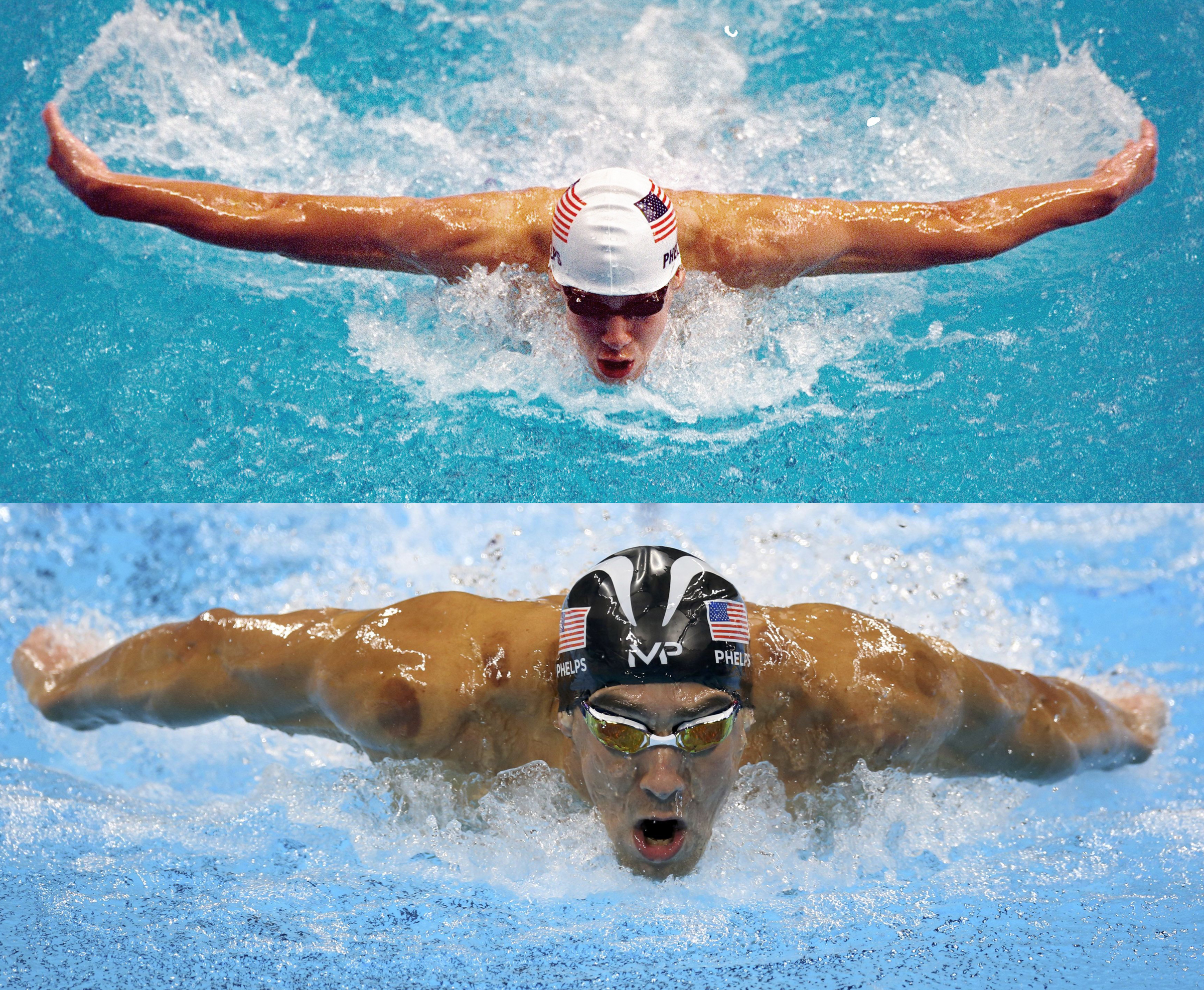 Michael Phelps swimming in 2000 and 2016