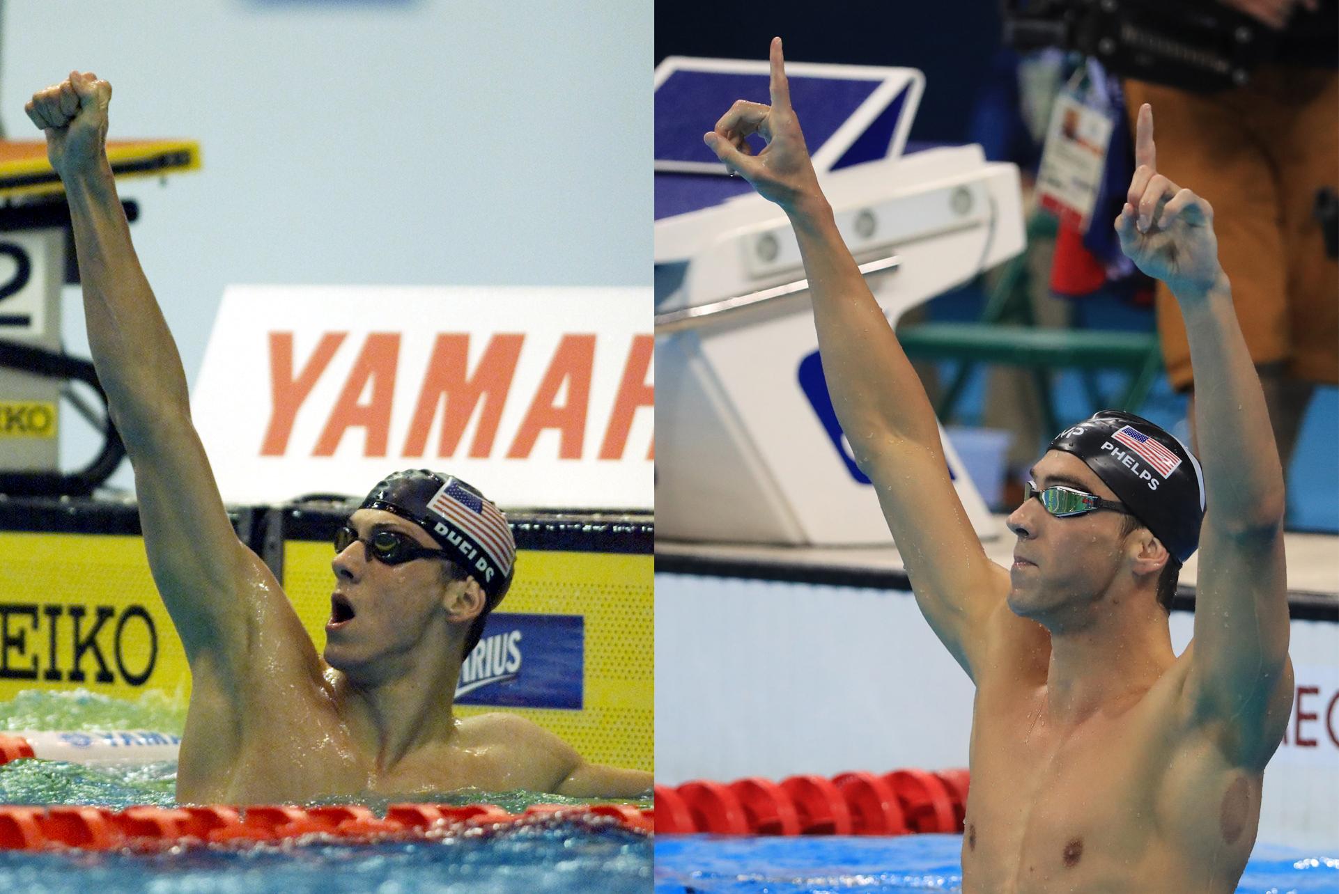 Michael Phelps celebrating