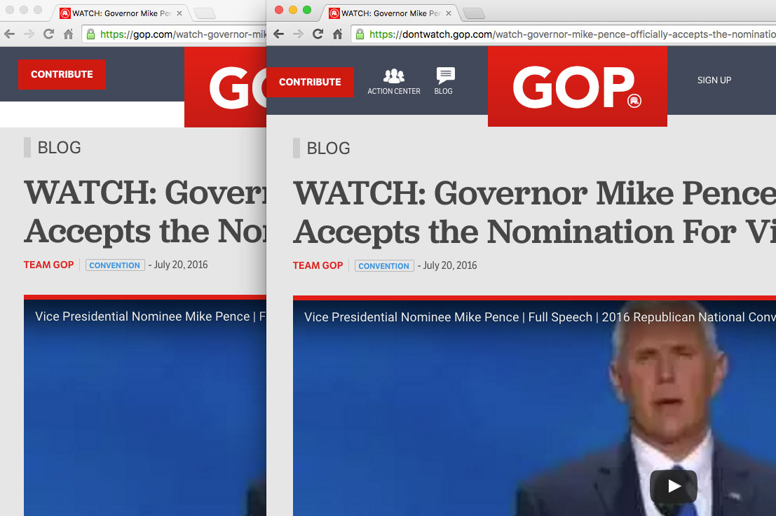 Screen shot showing how the gop.com url can be manipulated