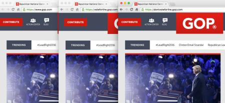 Screen shot showing how the gop.com can be manipulated