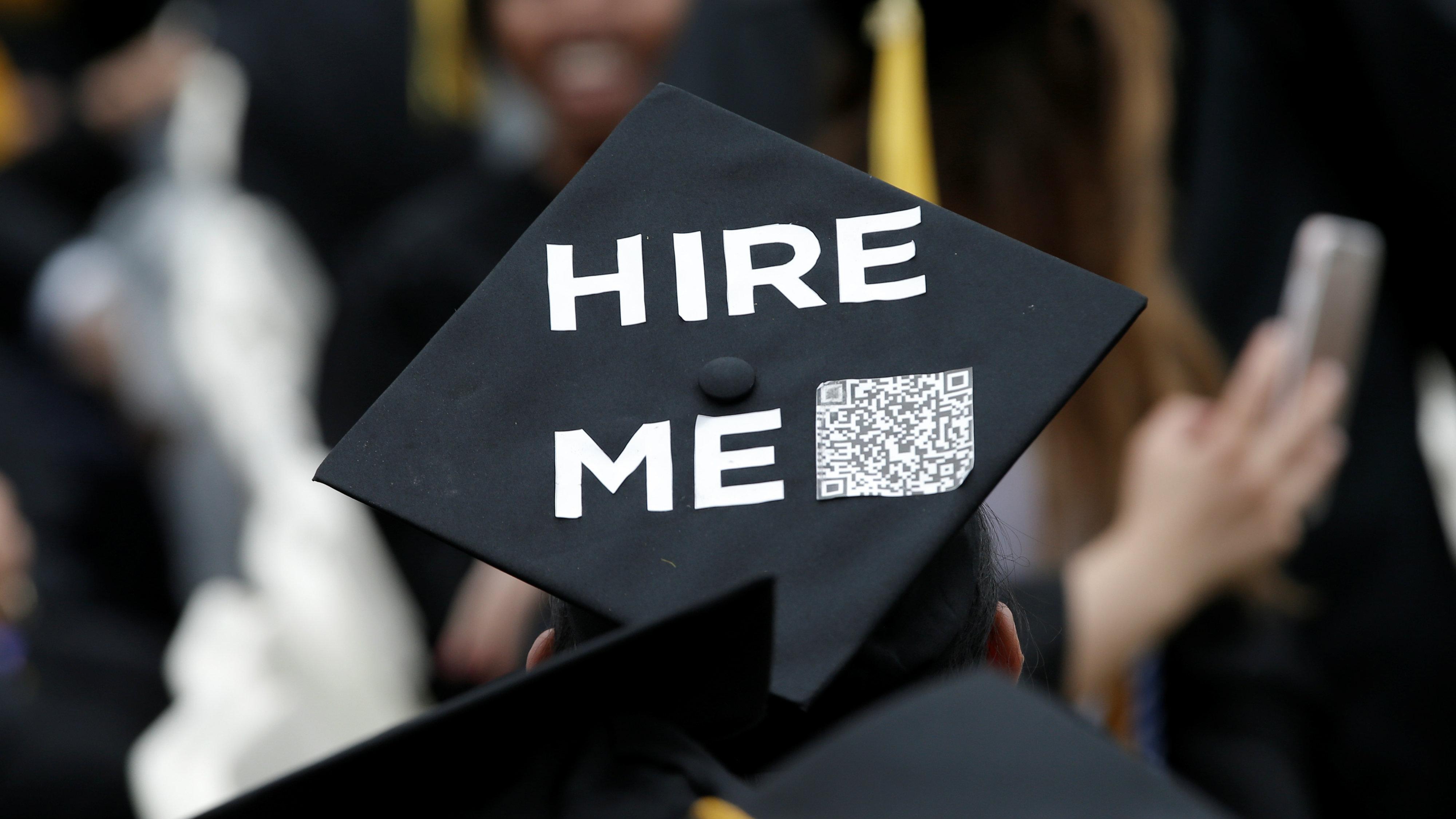 "Graduate cap that says ""hire me"""