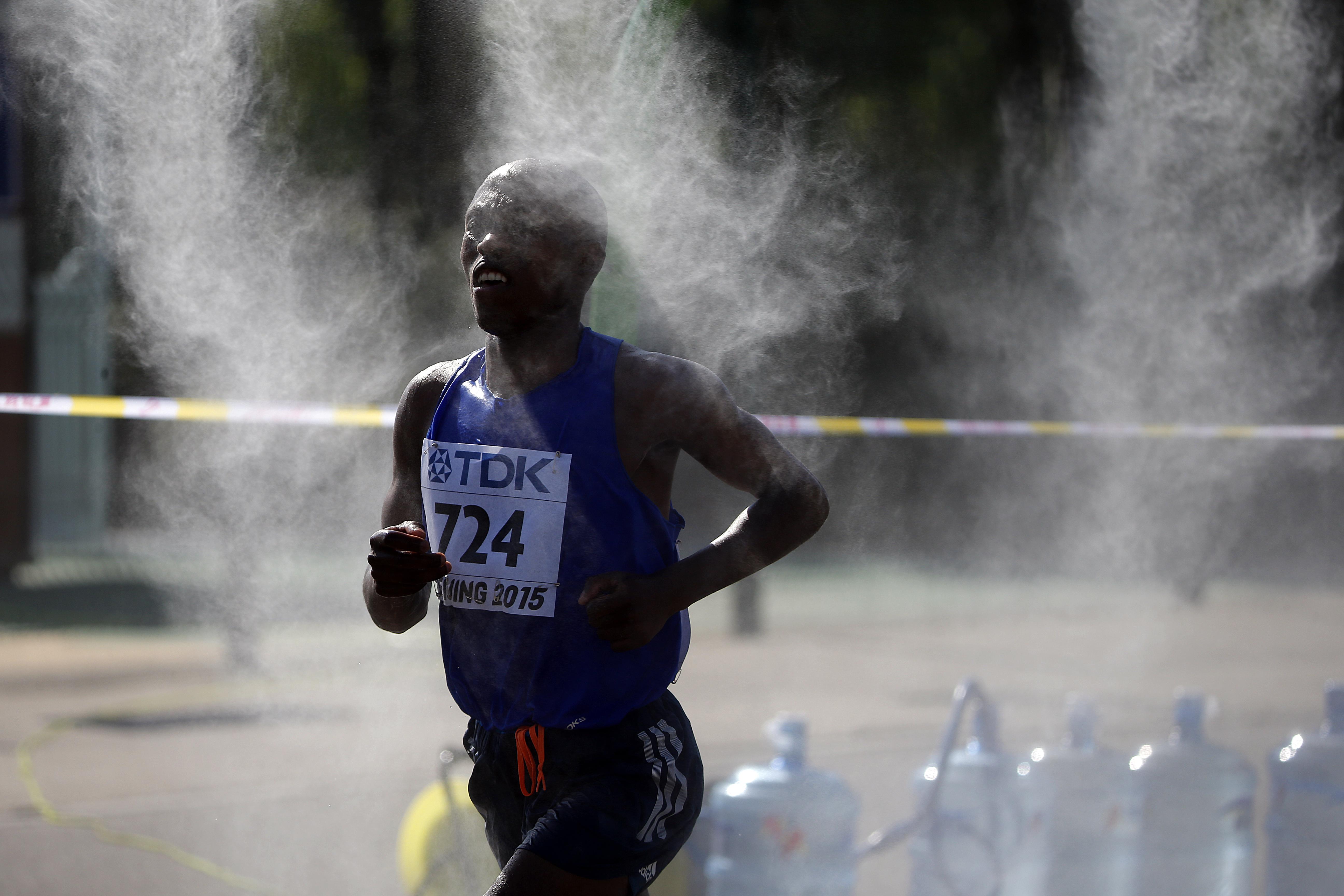 Tsepo Mathibelle runs in the men's marathon at the 2015 IAAF World Championships in Beijing.