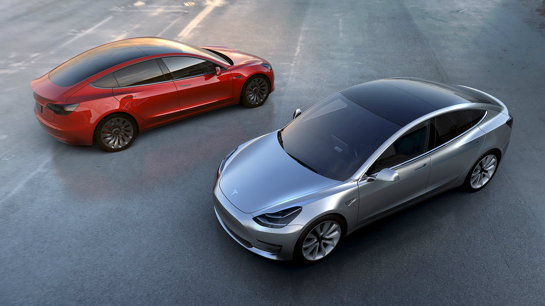 Tesla Motors' mass-market Model 3 electric cars are seen in this handout picture from Tesla Motors on March 31, 2016. Tesla Motors/Handout via Reuters/File Photo ATTENTION EDITORS - THIS IMAGE WAS PROVIDED BY A THIRD PARTY. EDITORIAL USE ONLY.
