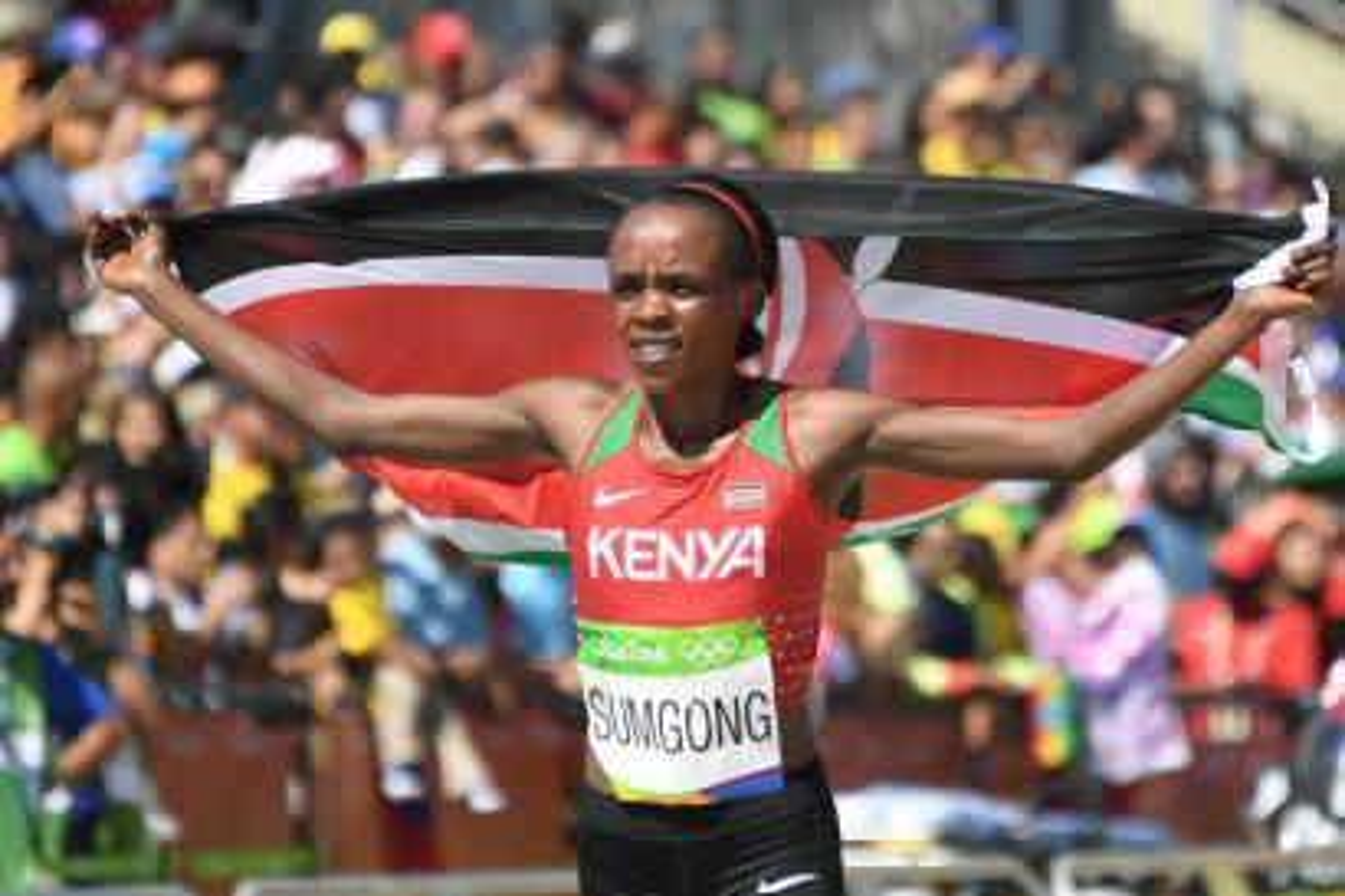 Jemima Sumgong celebrates for Kenya.