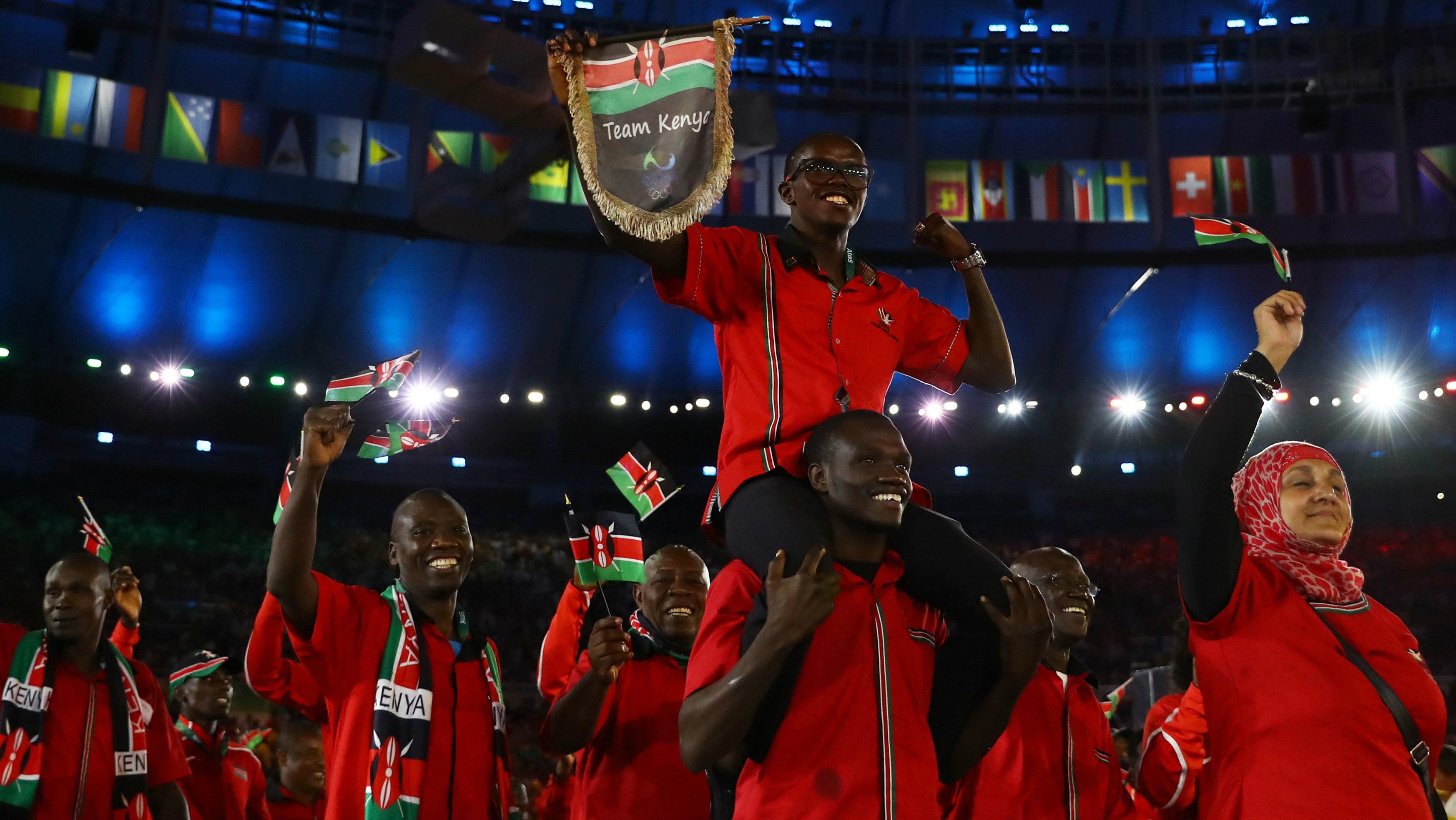 2016 Rio Olympics - Opening ceremony - Maracana - Rio de Janeiro, Brazil - 05/08/2016. Kenya's team arrives for the opening ceremony.