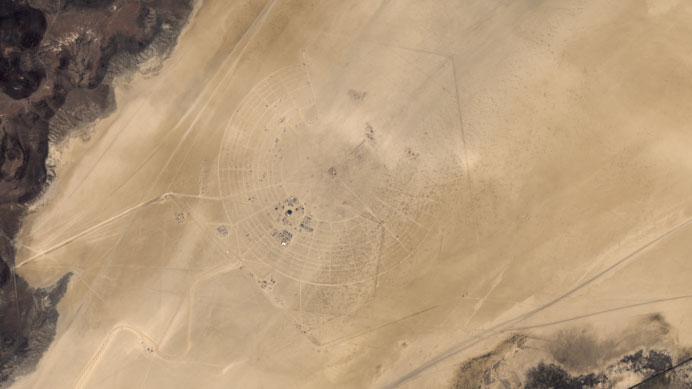 Satellite image of burning man from Landsat 8