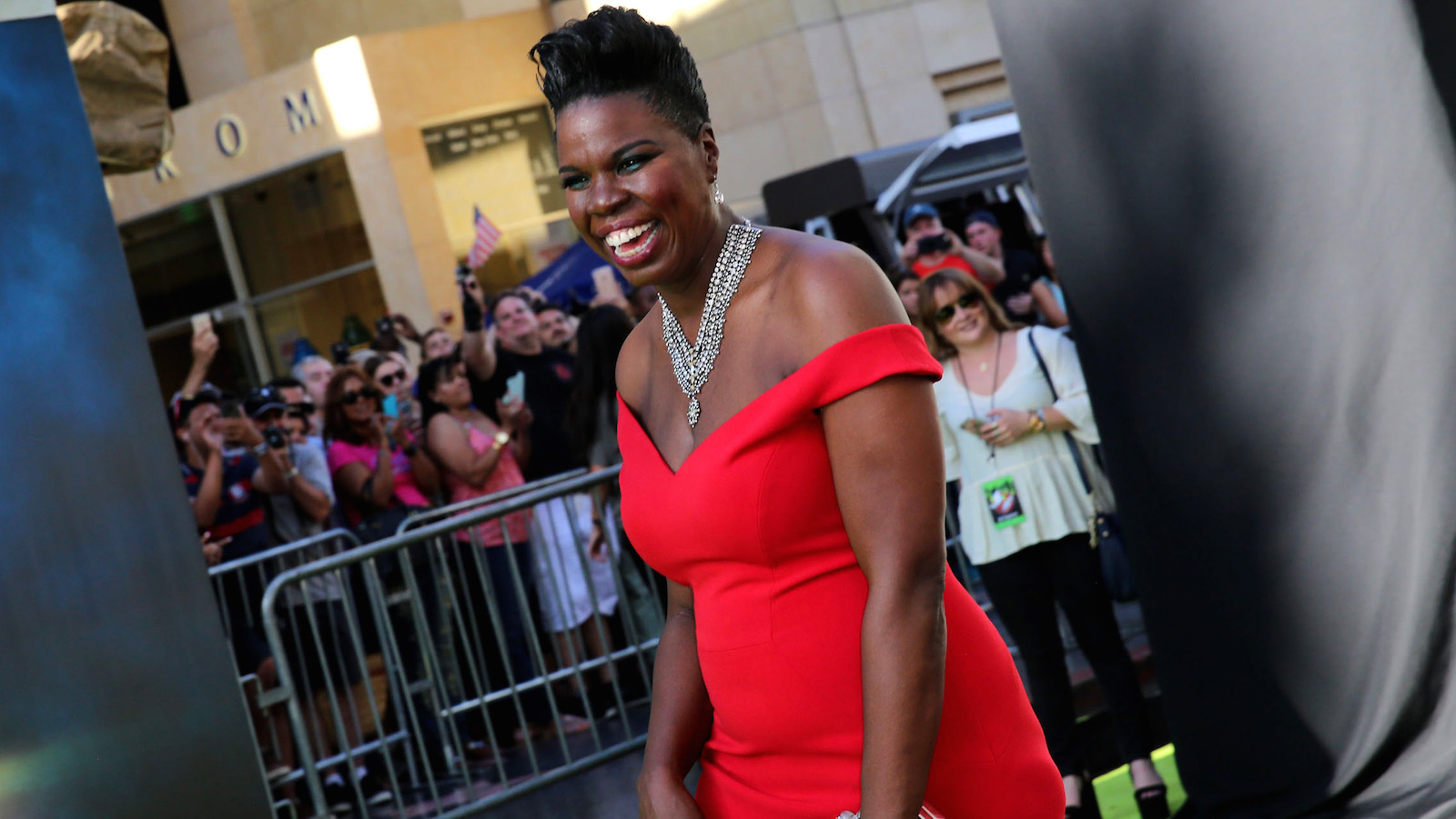 """Leslie Jones is seen at the Los Angeles Premiere of Columbia Pictures' """"Ghostbusters"""" at TCL Chinese Theatre on Saturday, July 9, 2016, in Los Angeles. (Photo by Blair Raughley/Invision for Sony/AP Images)"""