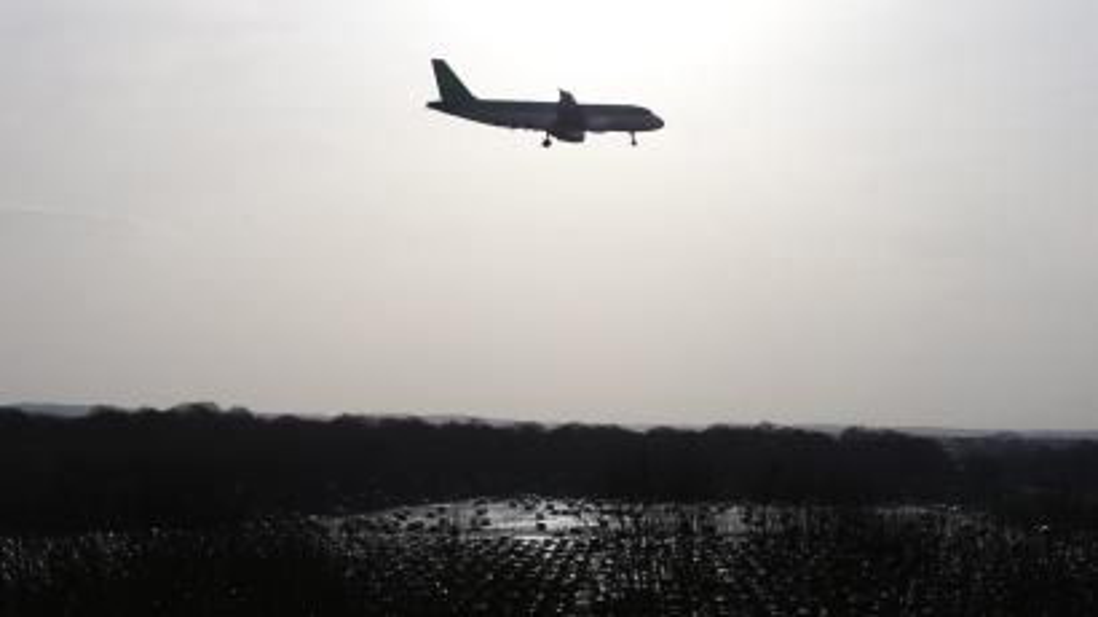 An aircraft lands at Gatwick, UK.