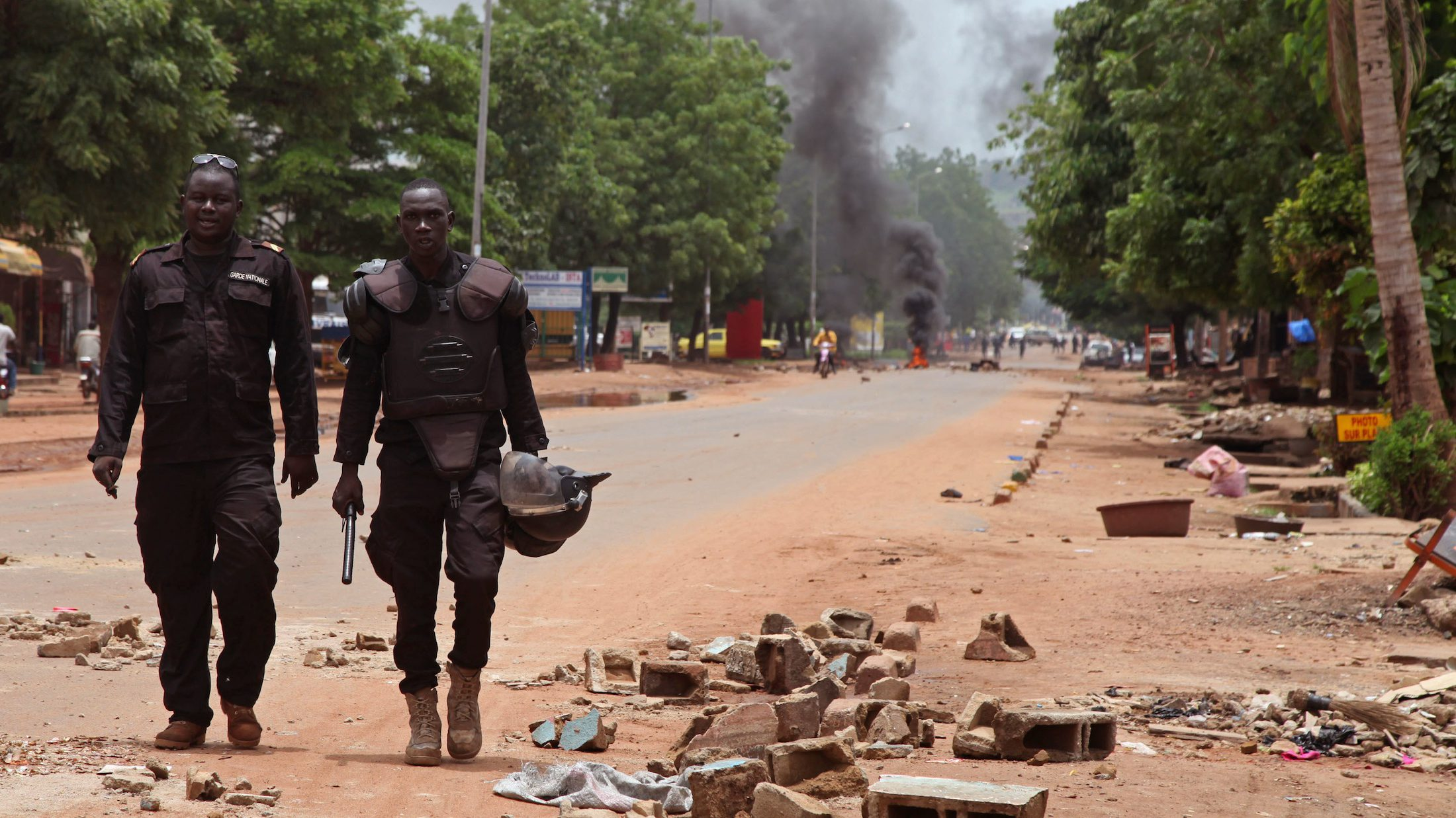 Mali police after a protest, in Bamako, Mali on Aug. 17.