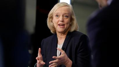 Hewlett Packard Enterprise President and Chief Executive Officer Meg Whitman is interviewed on the floor of the New York Stock Exchange, Monday, Nov. 2, 2015. The occasion is to highlight Hewlett Packard Enterprise's first day of regular-way trading following its separation from Hewlett-Packard Company. (AP Photo/Richard Drew)