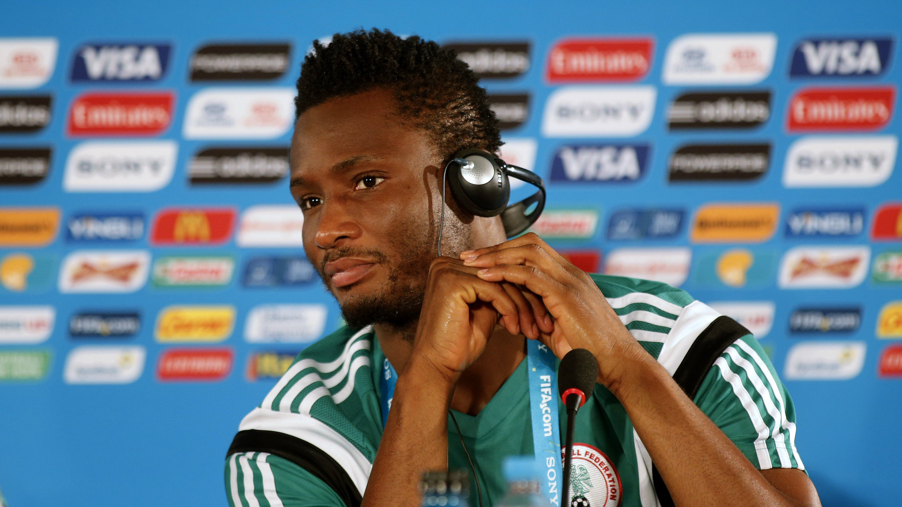 Nigeria's national soccer player John Obi Mikel attends a news conference at the Brasilia national stadium, ahead of their 2014 World Cup round of 16 soccer match against France, June 29, 2014.