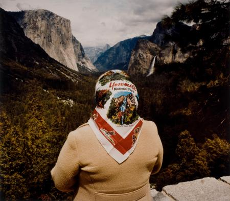 Woman with Scarf at Inspiration Point, Yosemite National Park, 1980.