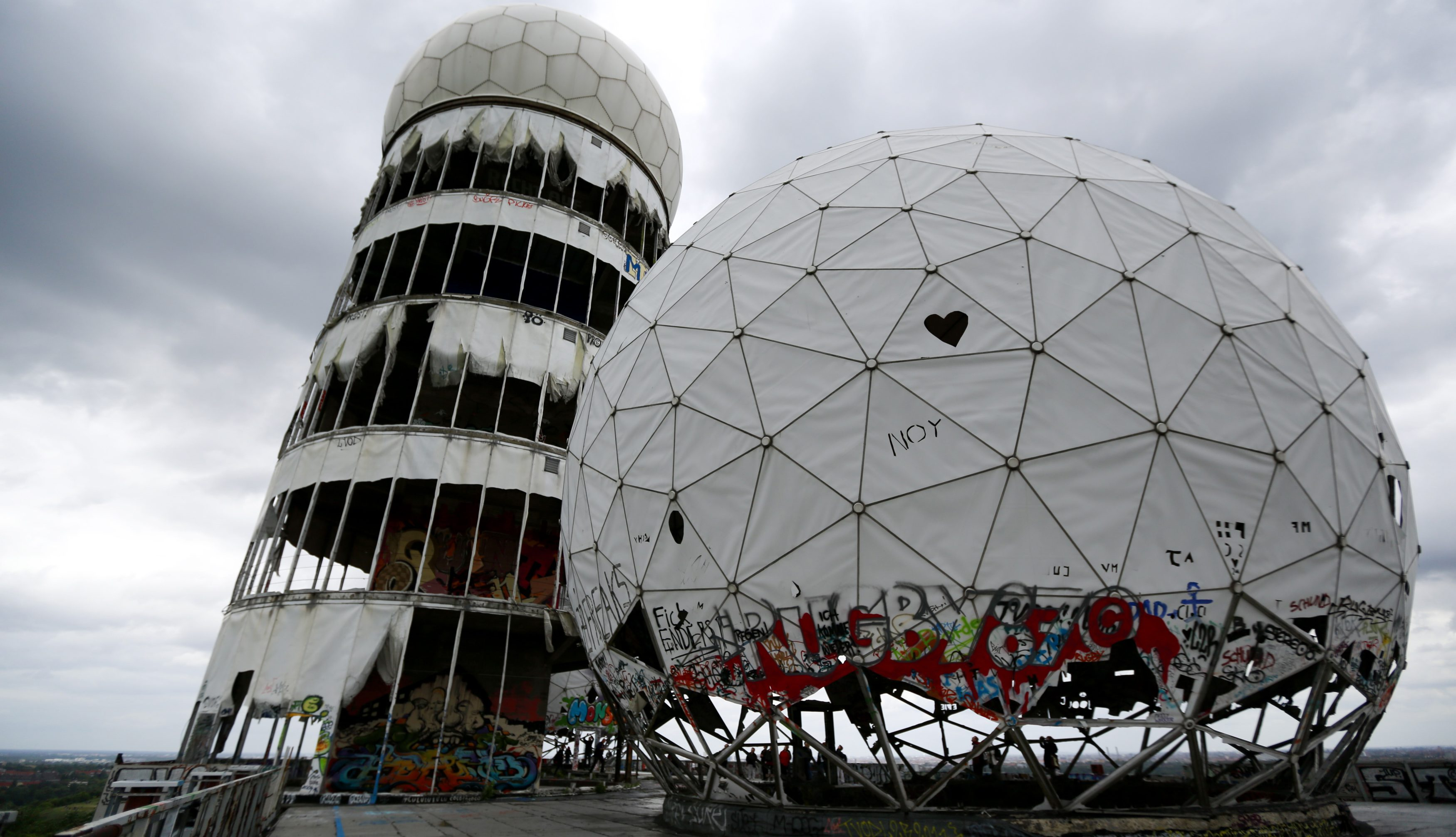Broken antenna covers of Former National Security Agency (NSA) listening station are seen at the Teufelsberg hill (German for Devil's Mountain) in Berlin
