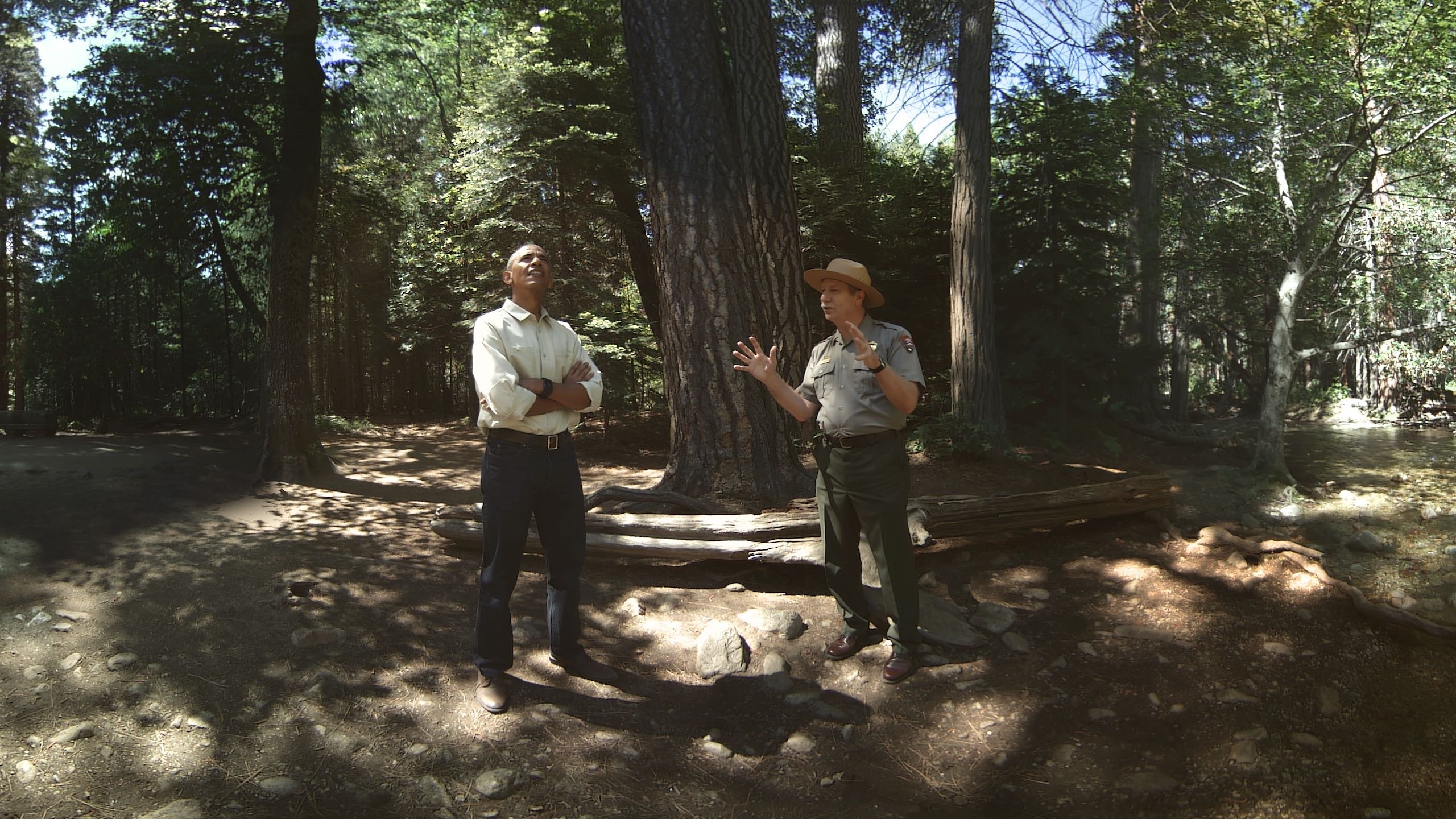 Listen in to Obama's chat in the woods about National Parks.