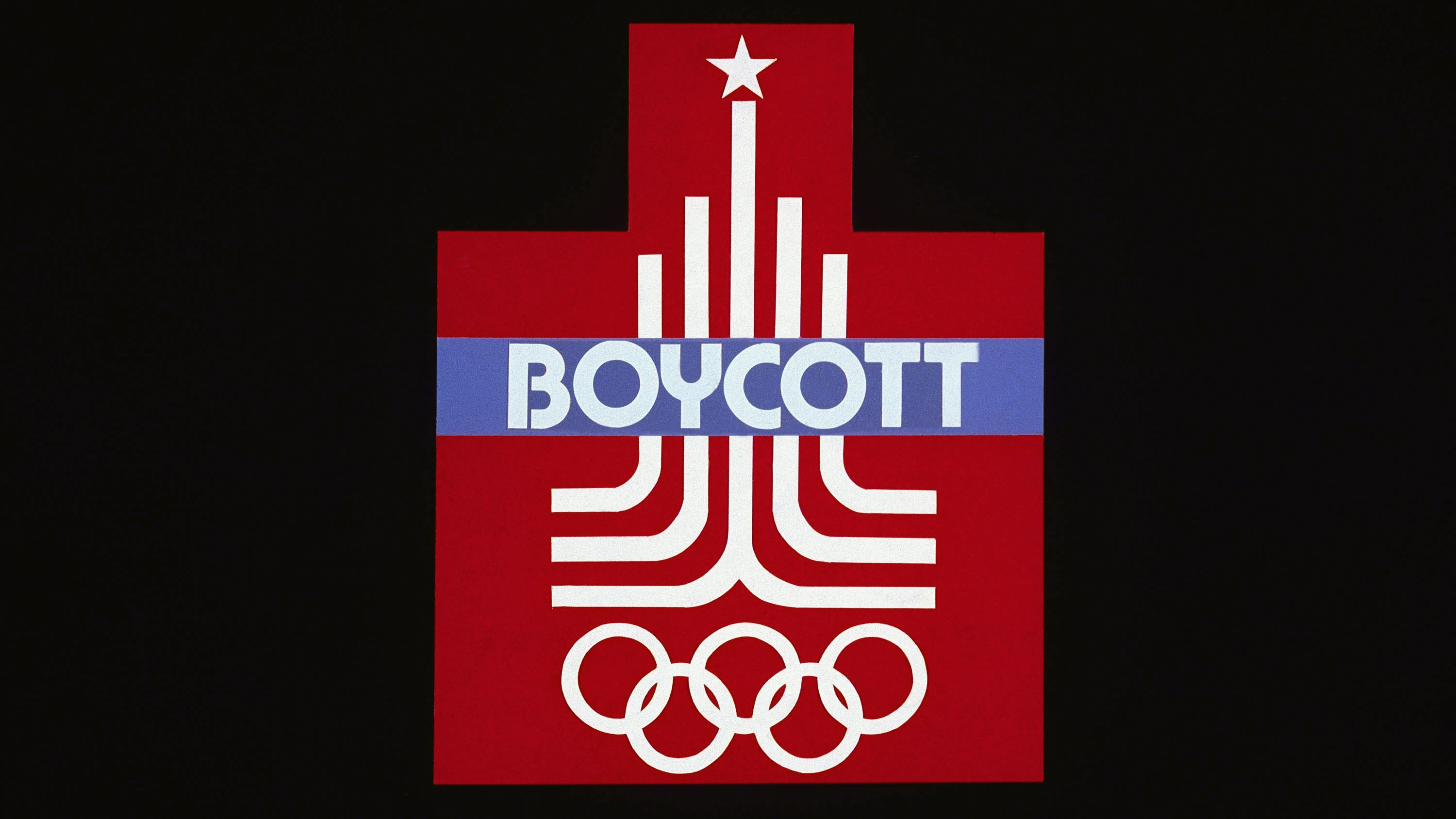 """Logo for the 1980 Olympics in Moscow with the word """"Boycott."""""""