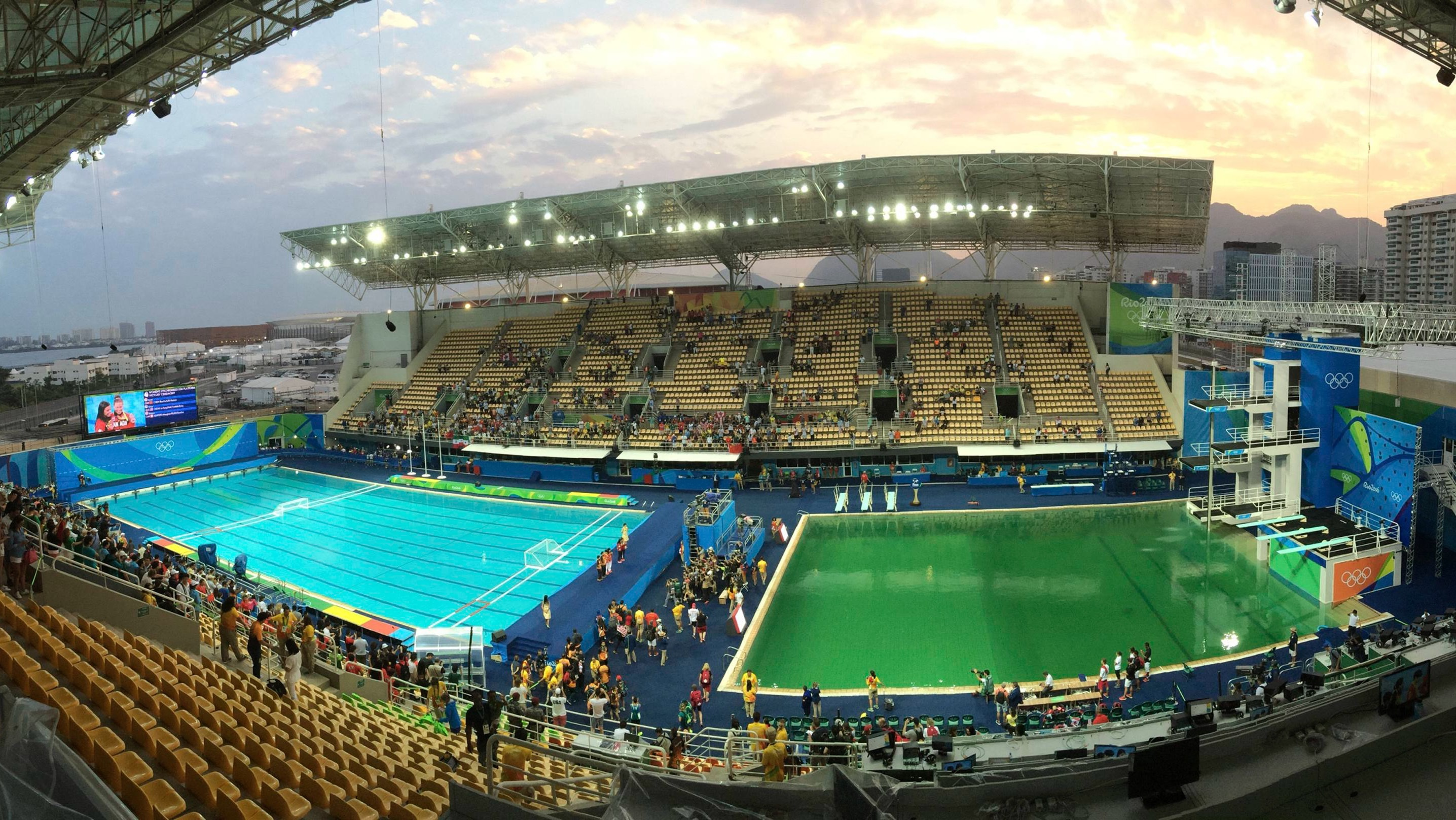 The Olympic diving pool, which turned green because of an algae bloom.
