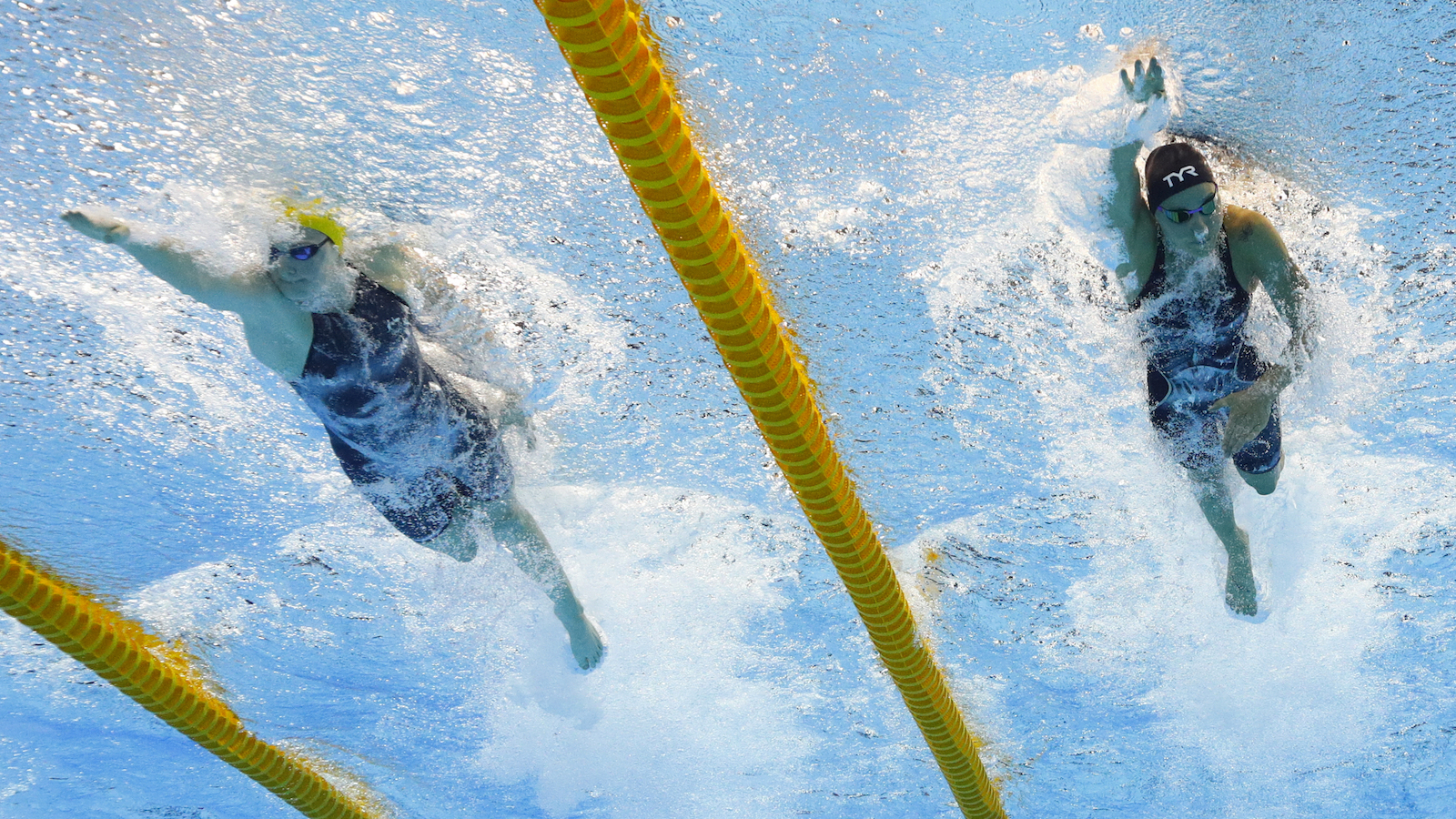 Denmark's Pernille Blume, right, and Australia's Cate Campbell compete in the women's 50-meter final during the swimming competitions at the 2016 Summer Olympics, Saturday, Aug. 13, 2016, in Rio de Janeiro, Brazil. (AP Photo/Jin-man Lee)