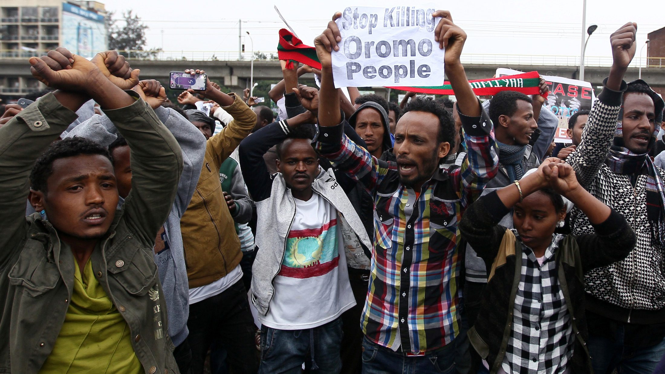 Protesters chant slogans during a demonstration over what they say is unfair distribution of wealth in the country at Meskel Square in Ethiopia's capital Addis Ababa, August 6, 2016.