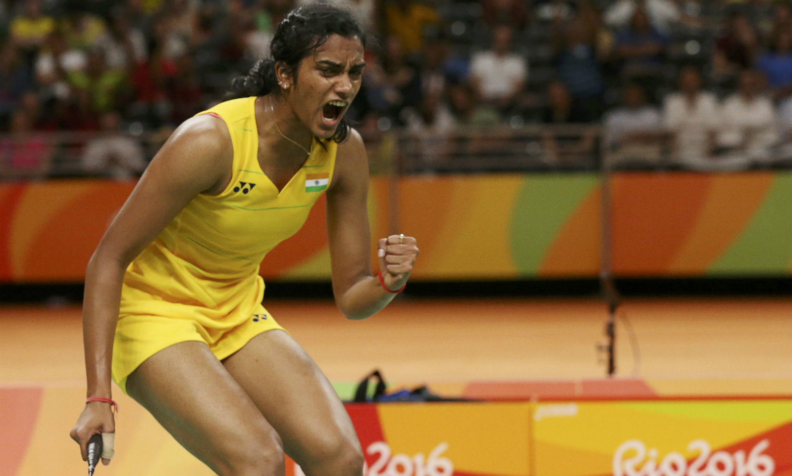 2016 Rio Olympics - Badminton - Women's Singles - Semifinals - Riocentro - Pavilion 4 - Rio de Janeiro, Brazil - 18/08/2016. P.V. Sindhu (IND) of India reacts during play against Nozomi Okuhara (JPN) of Japan.