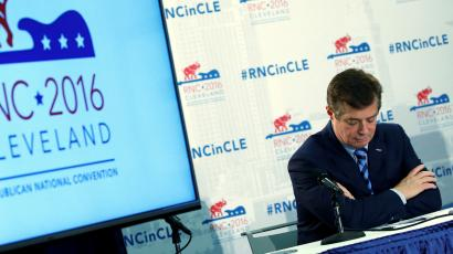U.S. Republican presidential candidate Donald Trump's campaign chair and convention manager Paul Manafort appears at a press conference at the Republican Convention in Cleveland, U.S., July 19, 2016.