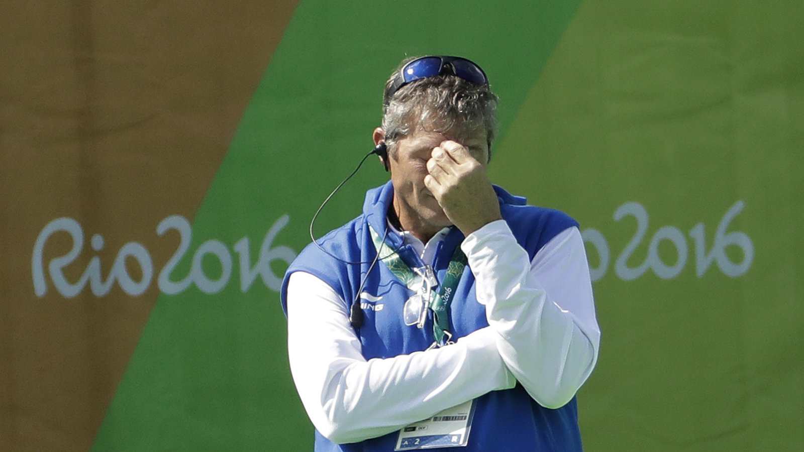India's coach Neil Hawgood reacts after his team received the fifth goal in the first halftime during a women's field hockey match against Argentina at 2016 Summer Olympics in Rio de Janeiro, Brazil, Saturday, Aug. 13, 2016.