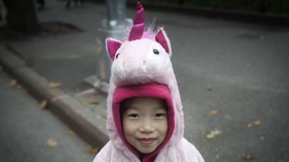 A child in a unicorn costume.