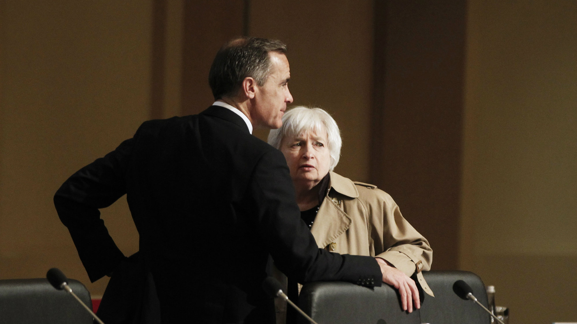 U.S. Federal Reserve Board Chair Janet Yellen talks with Mark Carney, Governor of the Bank of England, during a G20 finance ministers and central bank governors.